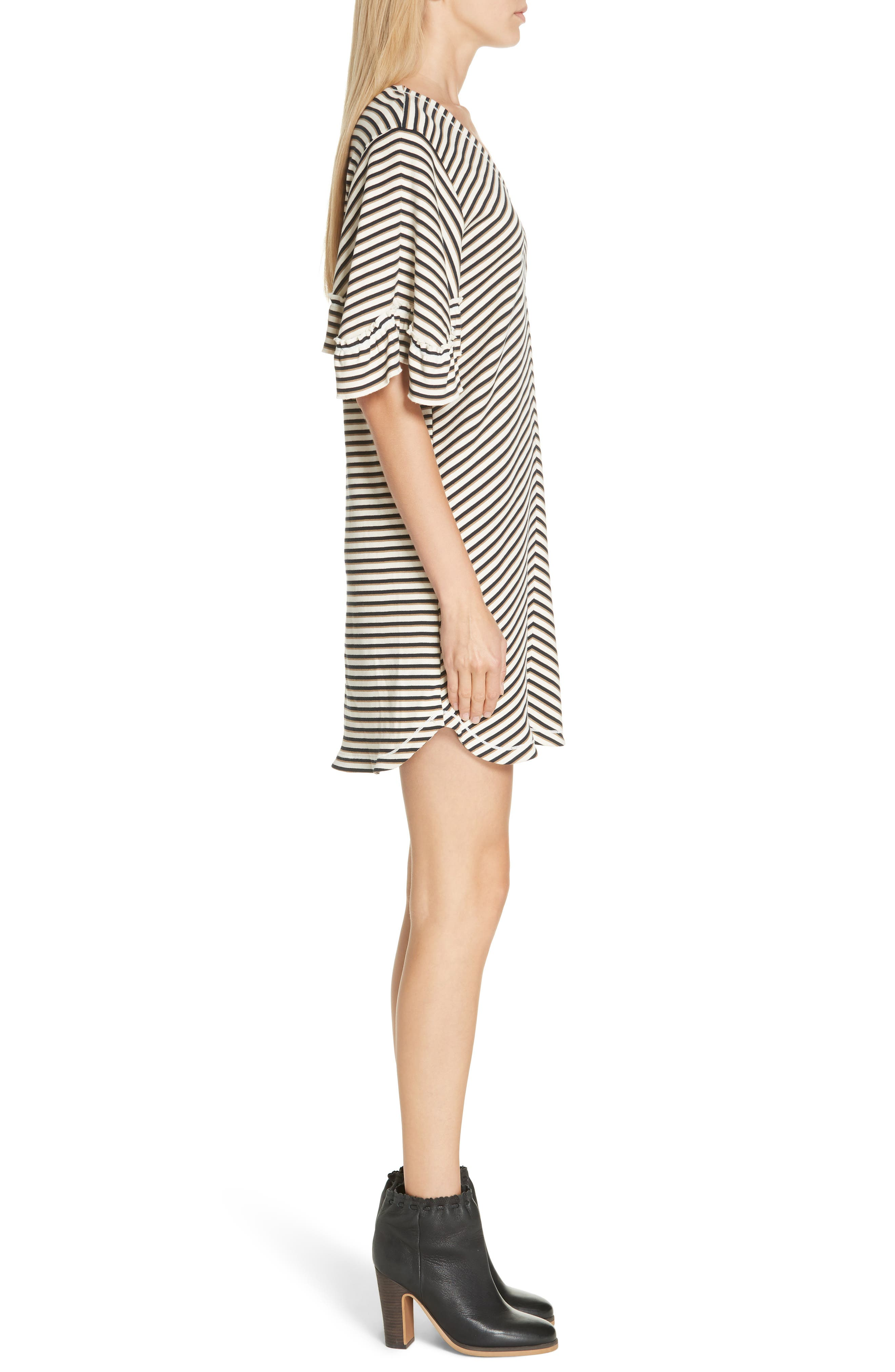 Stripe Ruffle Sleeve Shift Dress,                             Alternate thumbnail 3, color,                             WHITE - BEIGE 1