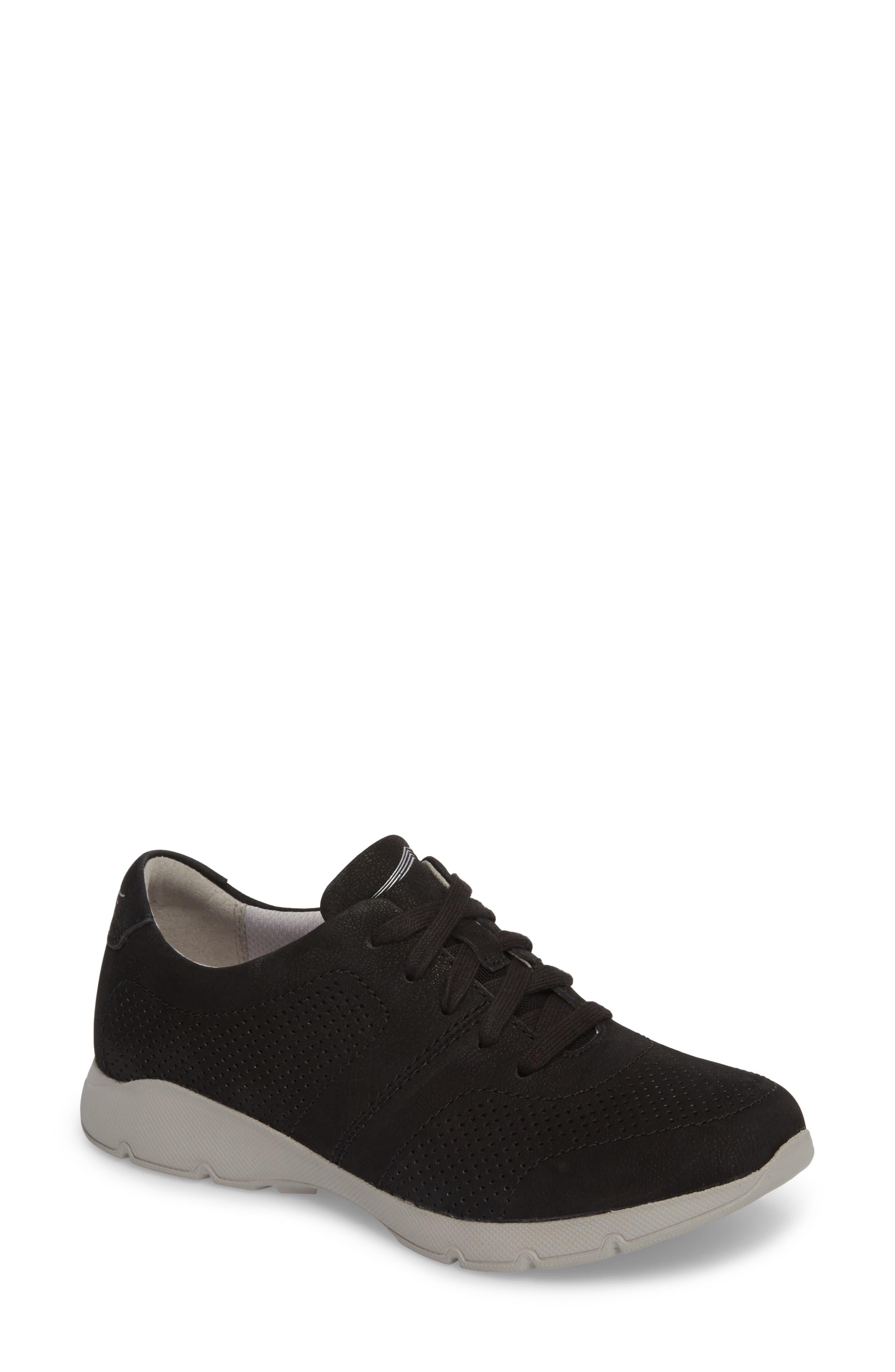 Alissa Sneaker,                         Main,                         color, BLACK MILLED NUBUCK LEATHER