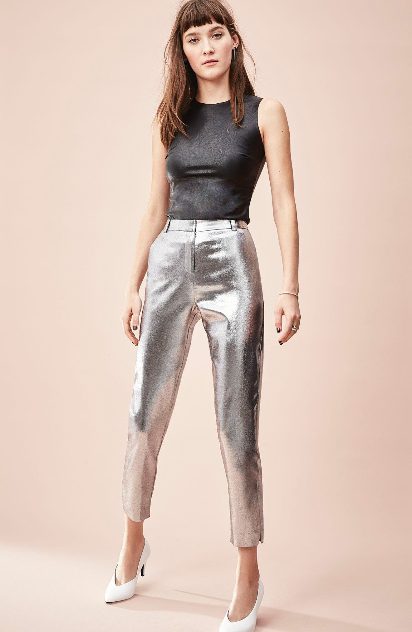 Satin High Waist Ankle Pants,                             Alternate thumbnail 7, color,