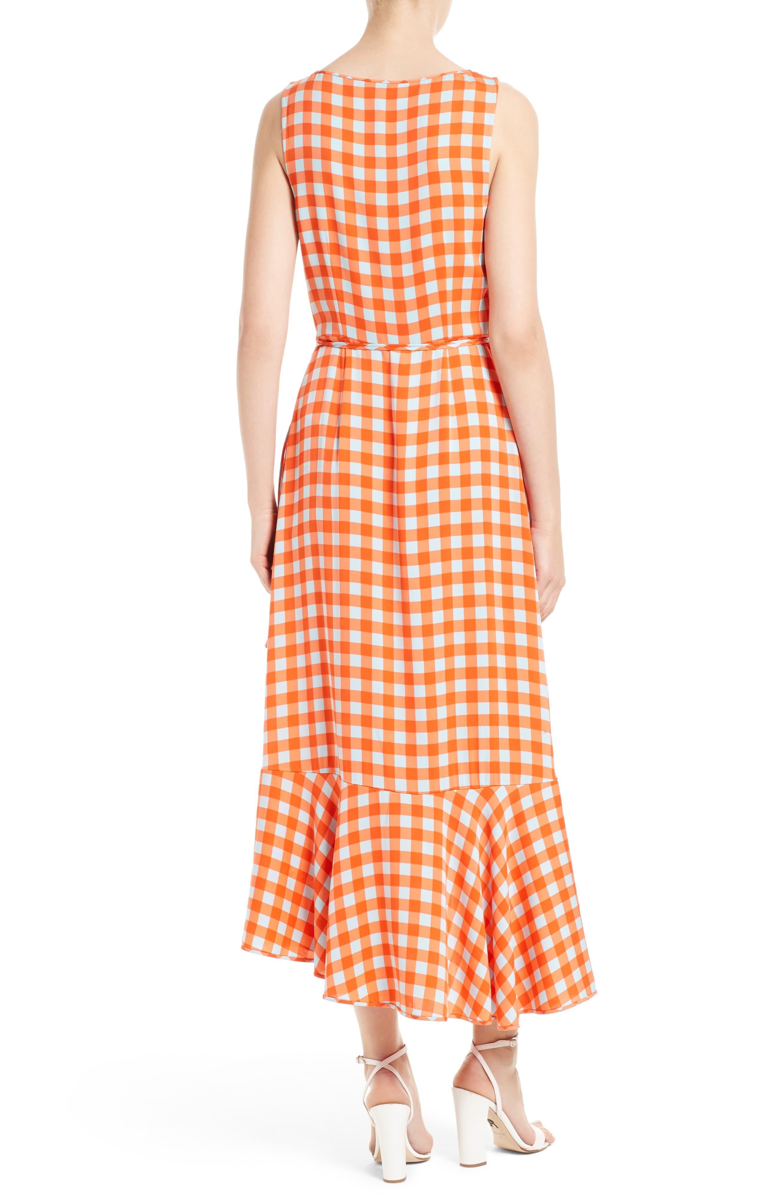 Check Ruffle Hem Wrap Dress,                             Alternate thumbnail 2, color,