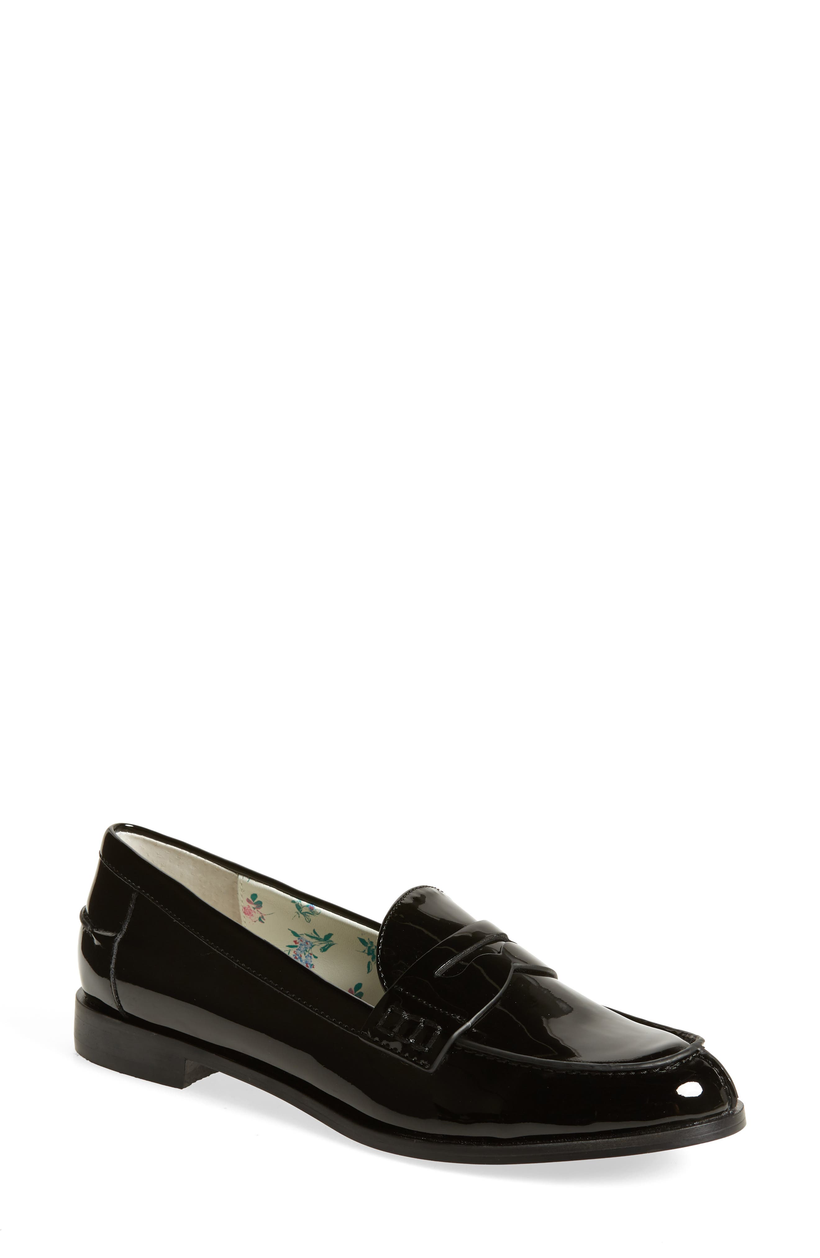 Niles Penny Loafer,                             Main thumbnail 1, color,                             BLACK FAUX PATENT