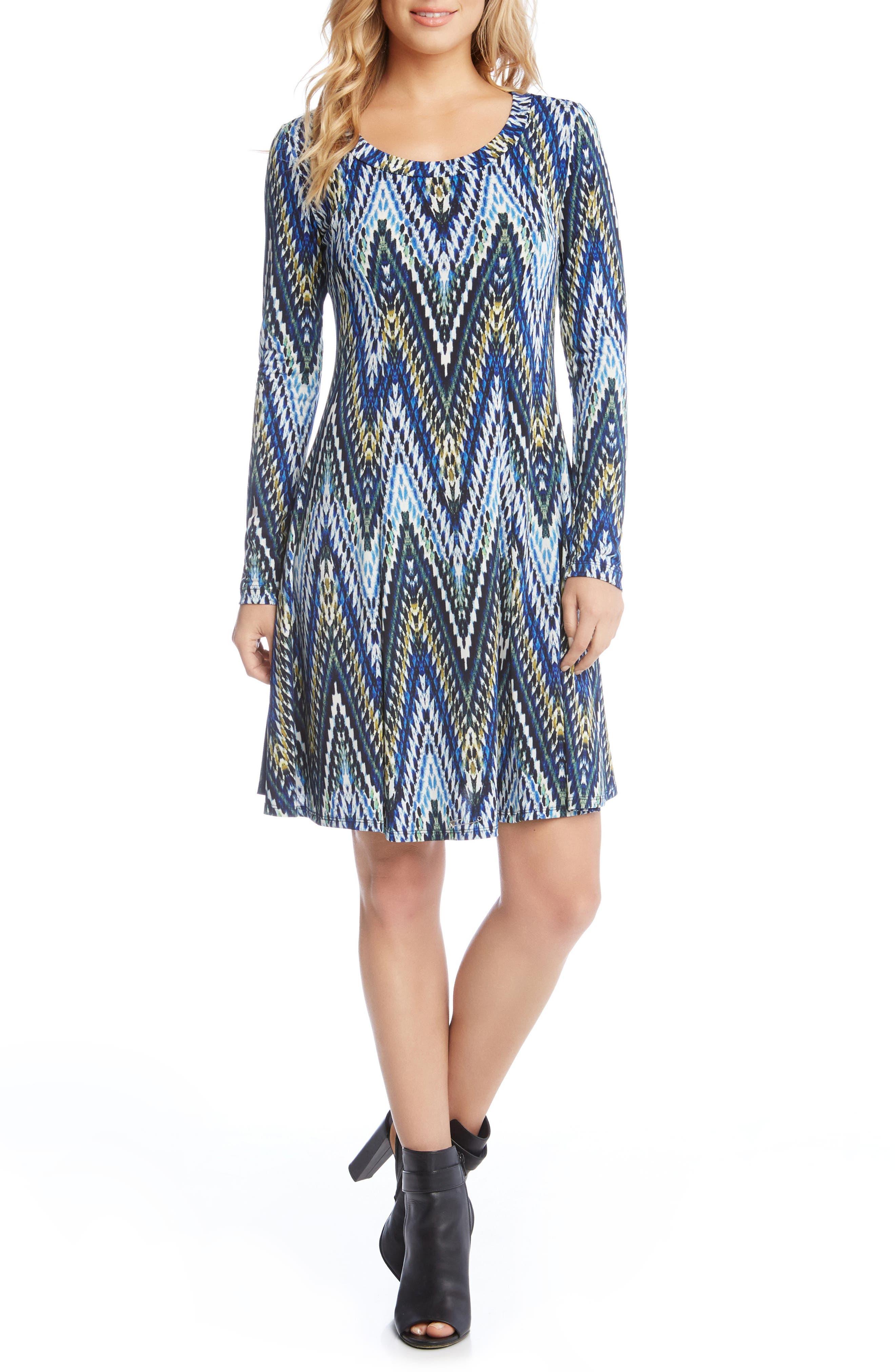 Long Sleeve A-Line Dress,                         Main,                         color, 560