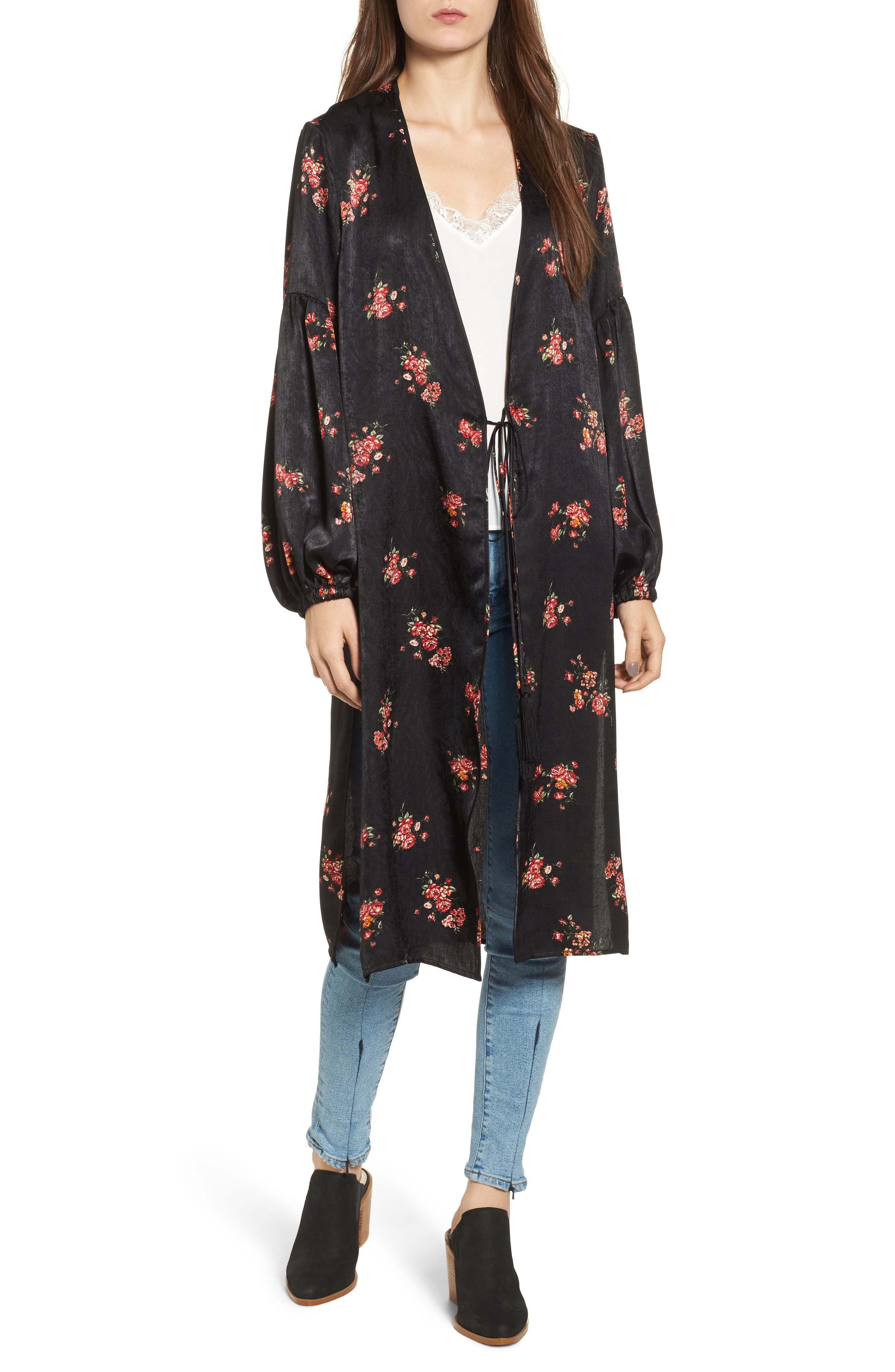 Tie Front Floral Print Duster,                             Main thumbnail 1, color,                             001