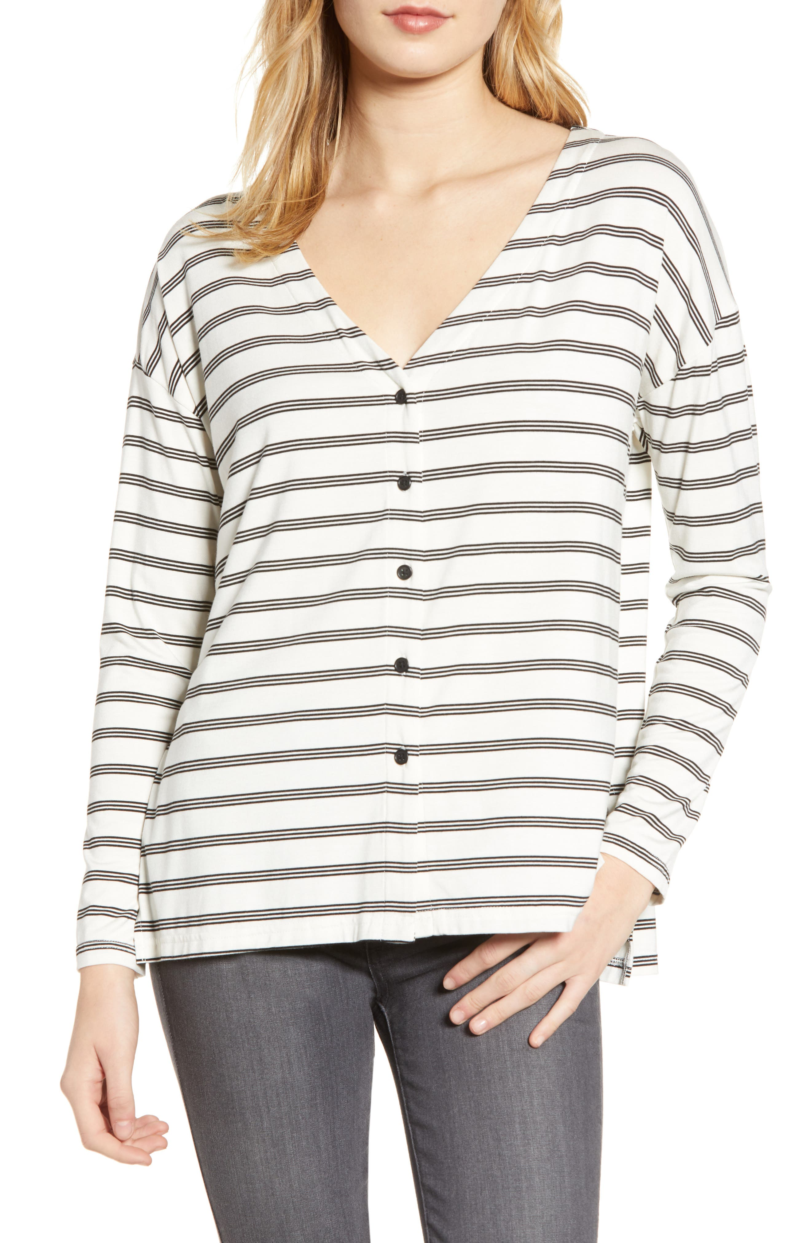 CUPCAKES AND CASHMERE Roxanna Stripe Knit Top, Main, color, IVORY