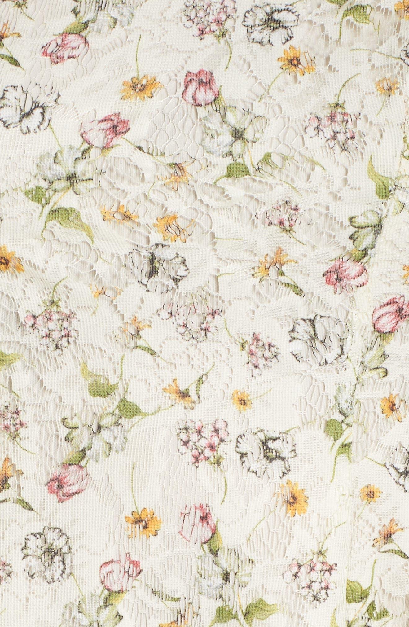 Cutout Shoulder Floral Print Lace Dress,                             Alternate thumbnail 5, color,                             111