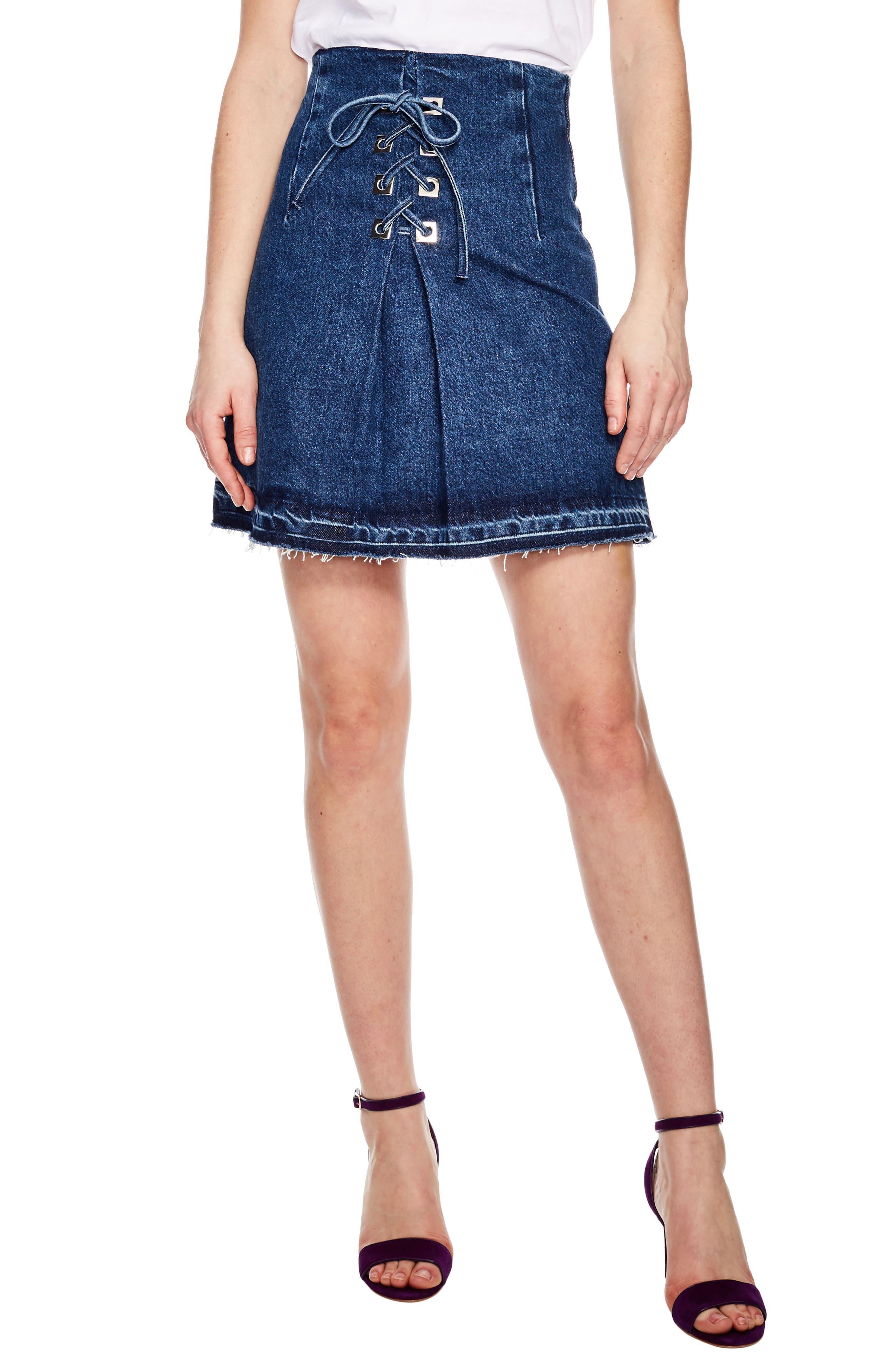 SANDRO,                             Blue Vintage Denim Mini Skirt,                             Main thumbnail 1, color,                             400
