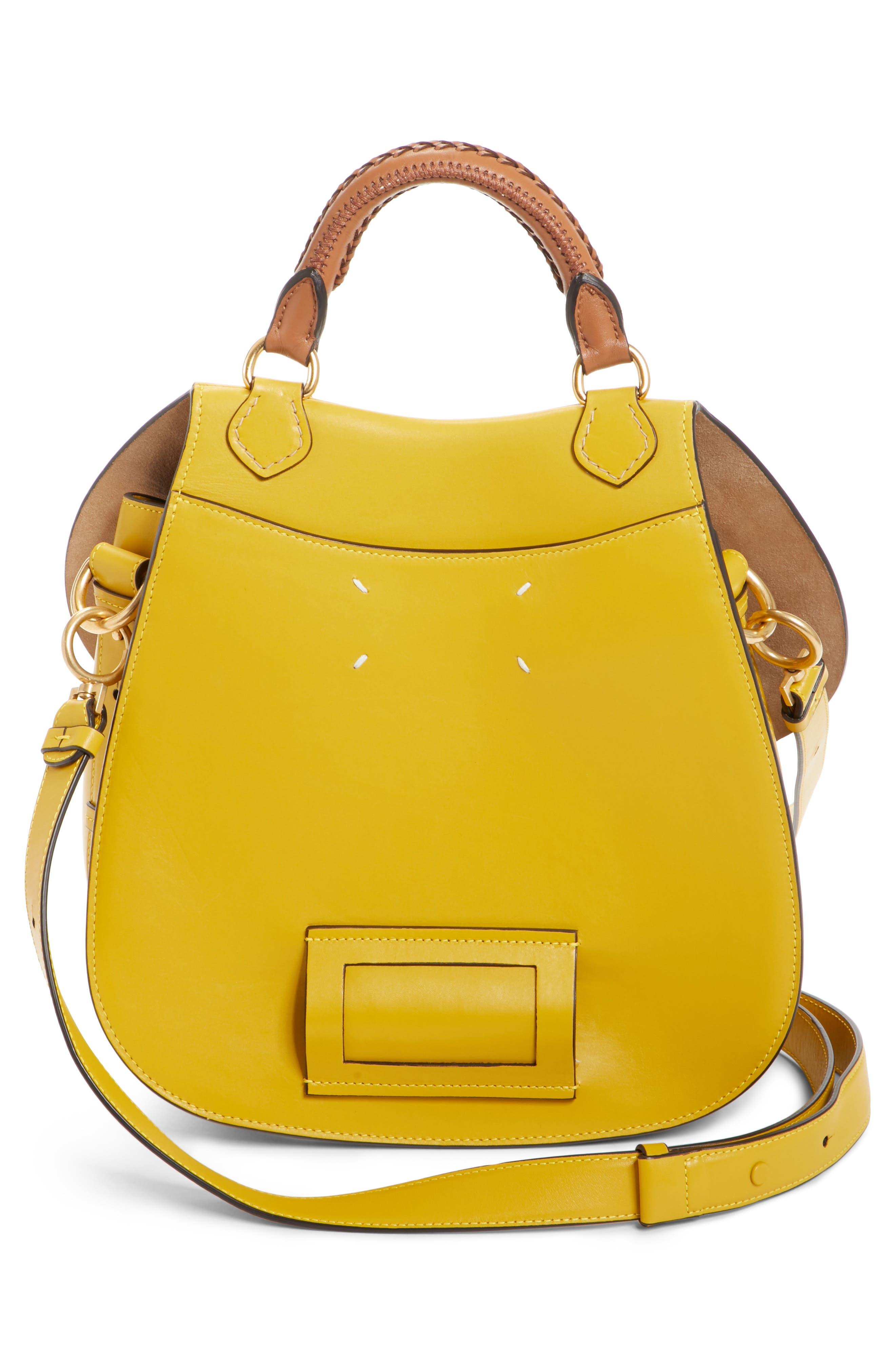 Large Bag Slide Leather Saddle Bag,                             Alternate thumbnail 3, color,                             YELLOW