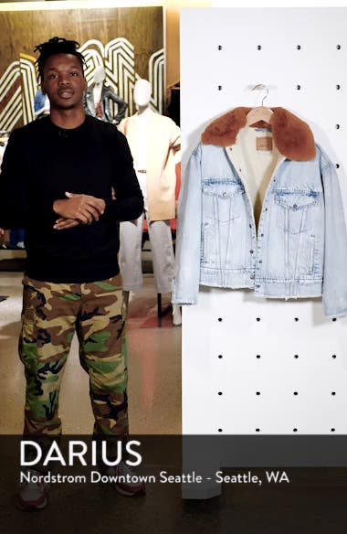 Oversize Faux Shearling Lined Denim Trucker Jacket with Removable Faux Fur Collar, sales video thumbnail