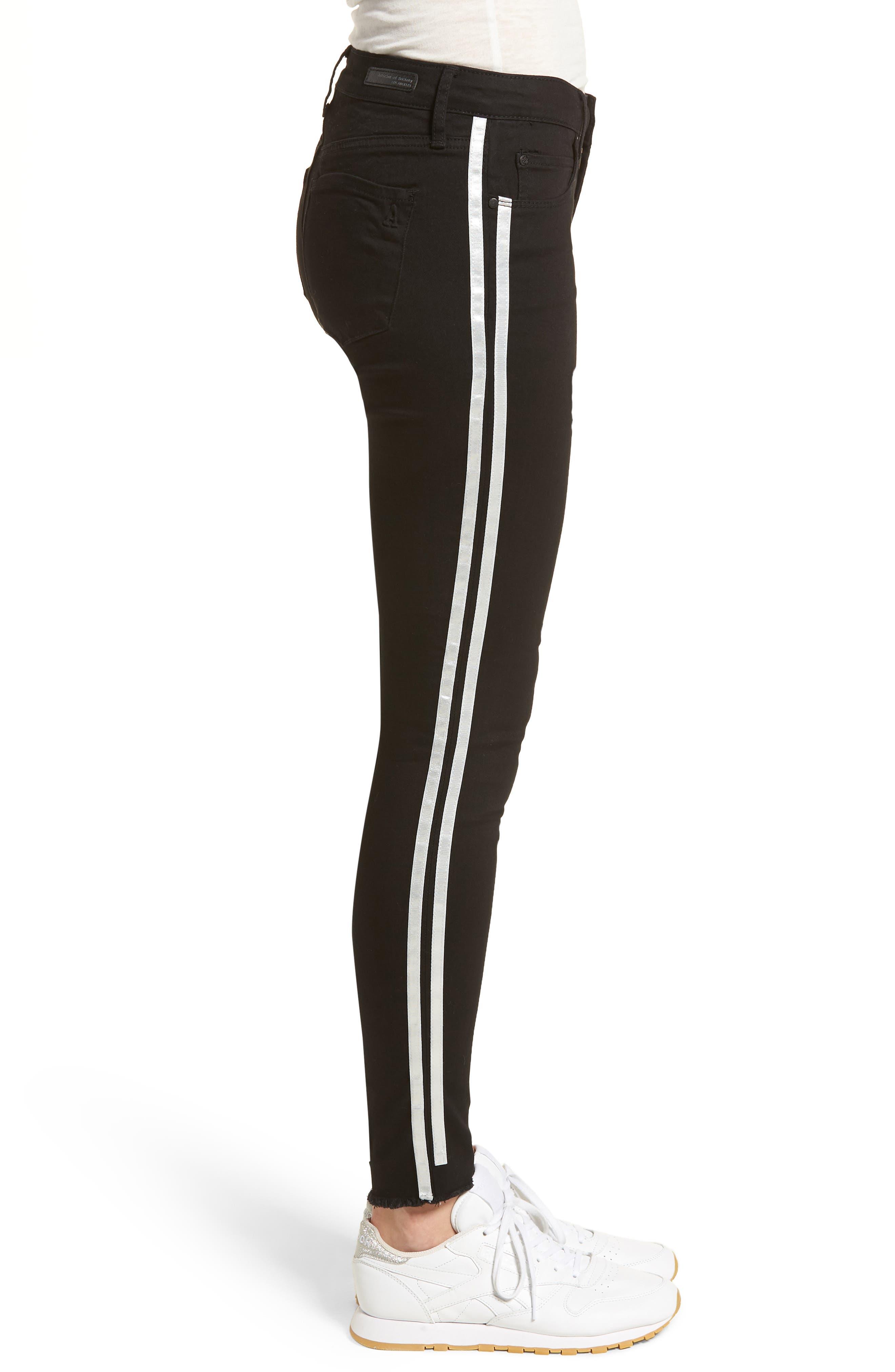Sarah Stripe Skinny Jeans,                             Alternate thumbnail 3, color,                             011