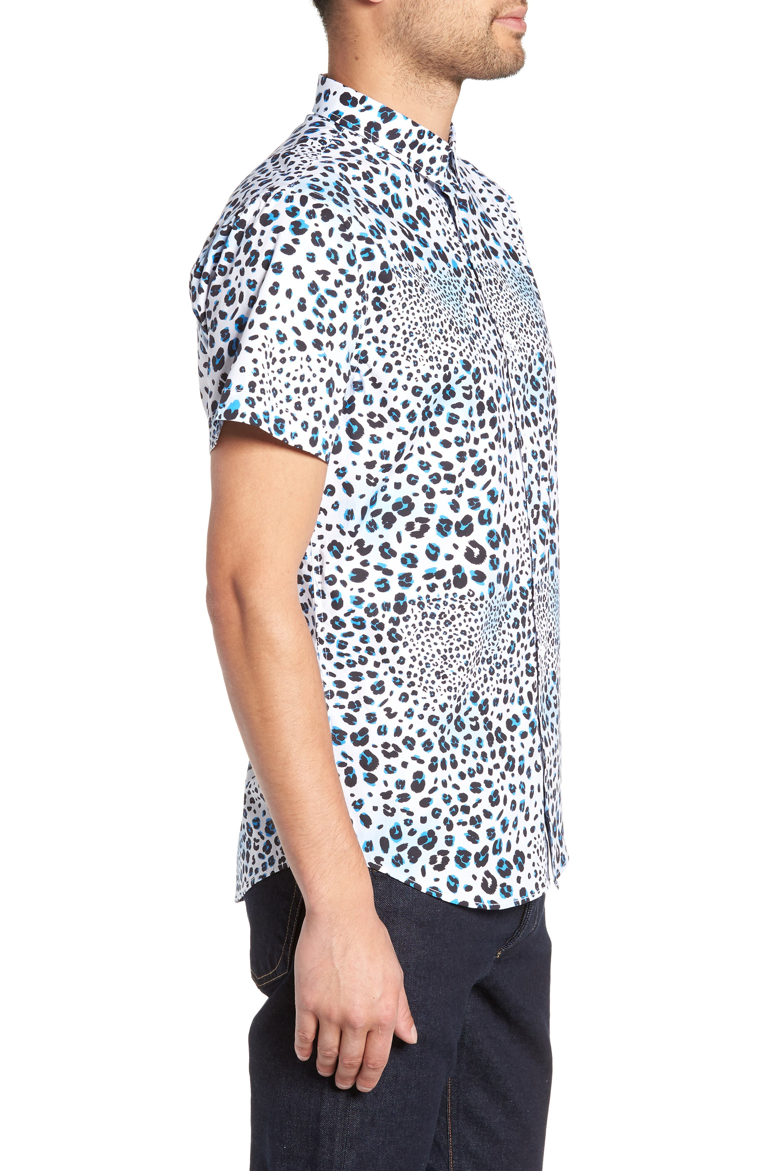 Print Sport Shirt,                             Alternate thumbnail 3, color,                             WHITE BLUE MICRO LEOPARD