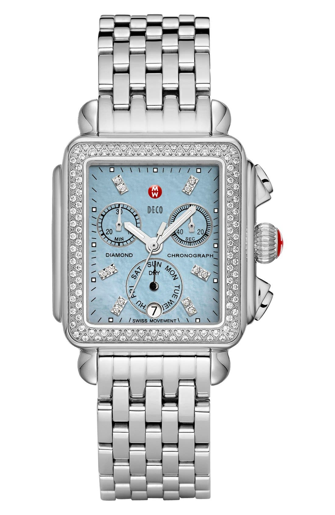 Deco Diamond Dial Gold Plated Watch Case, 33mm x 35mm,                             Alternate thumbnail 22, color,