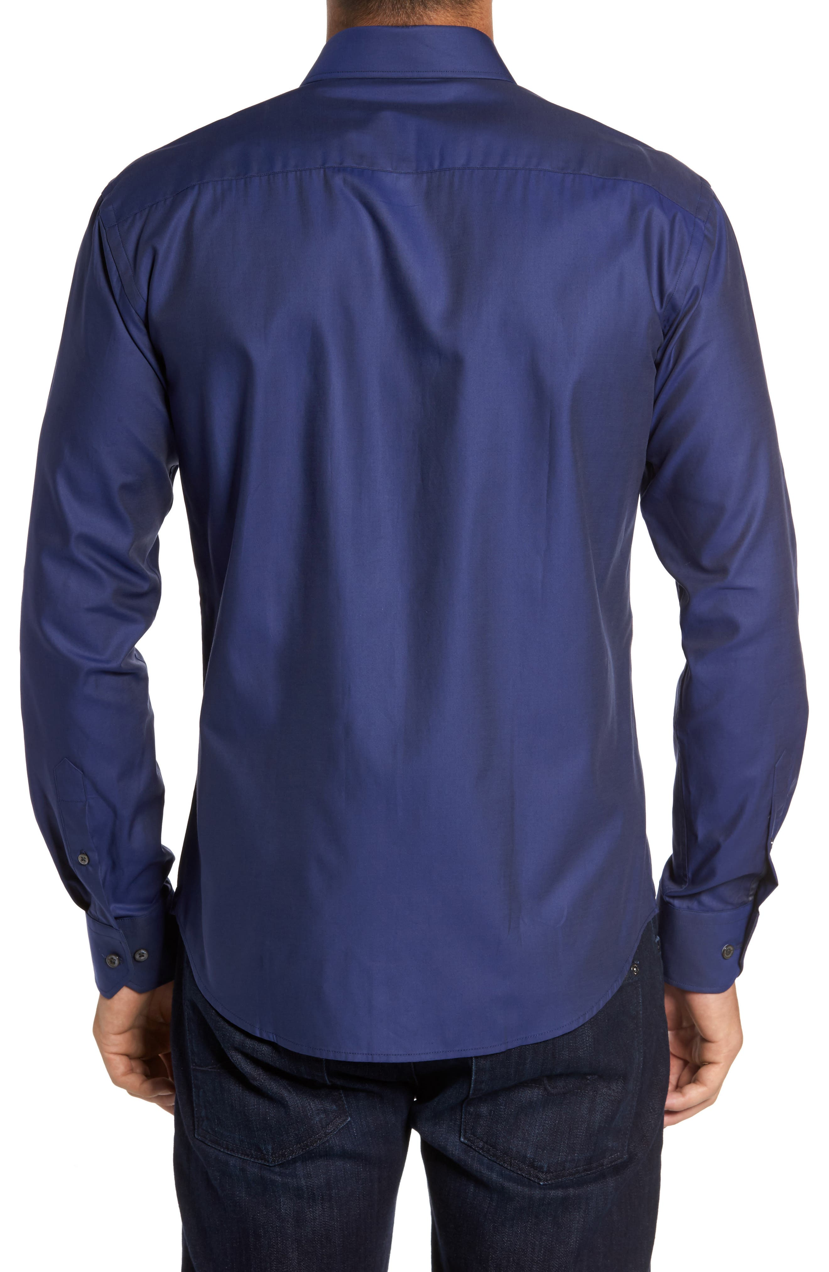 Trim Fit Solid Sport Shirt,                             Alternate thumbnail 6, color,