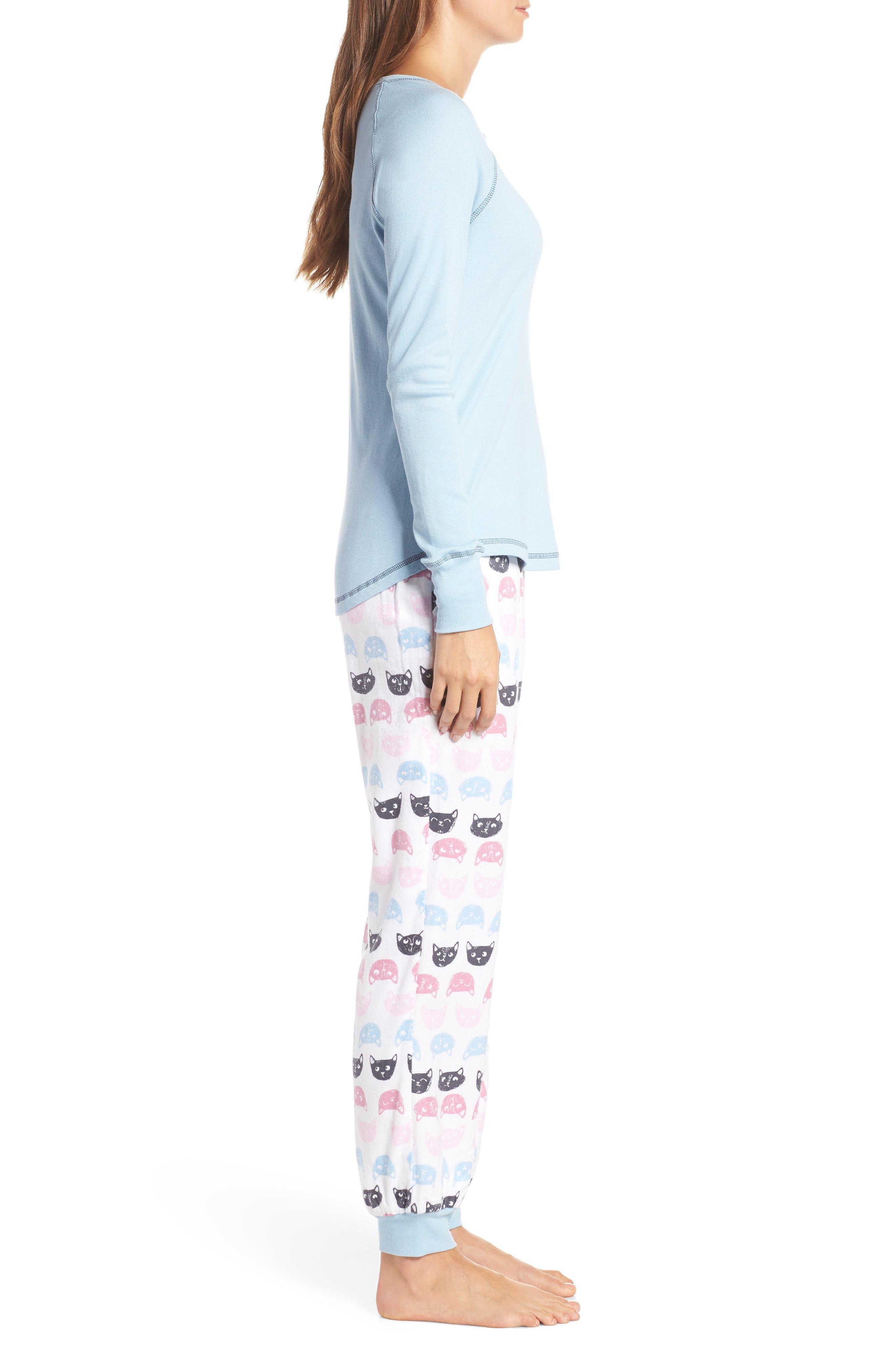 MUNKI MUNKI,                             Knit & Flannel Pajamas,                             Alternate thumbnail 3, color,                             WHITE CATS