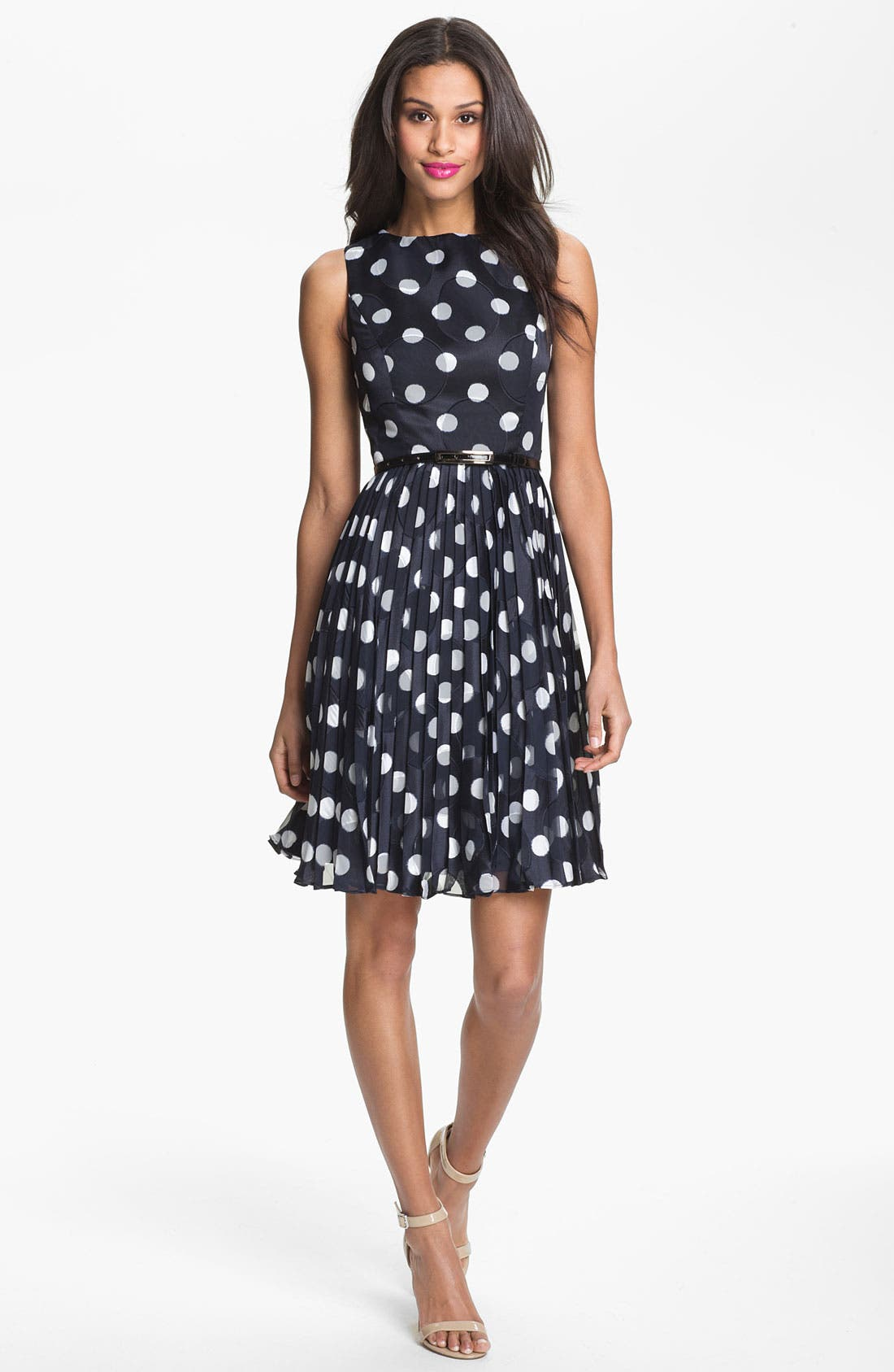 ADRIANNA PAPELL,                             Burnout Polka Dot Fit & Flare Dress,                             Alternate thumbnail 4, color,                             412