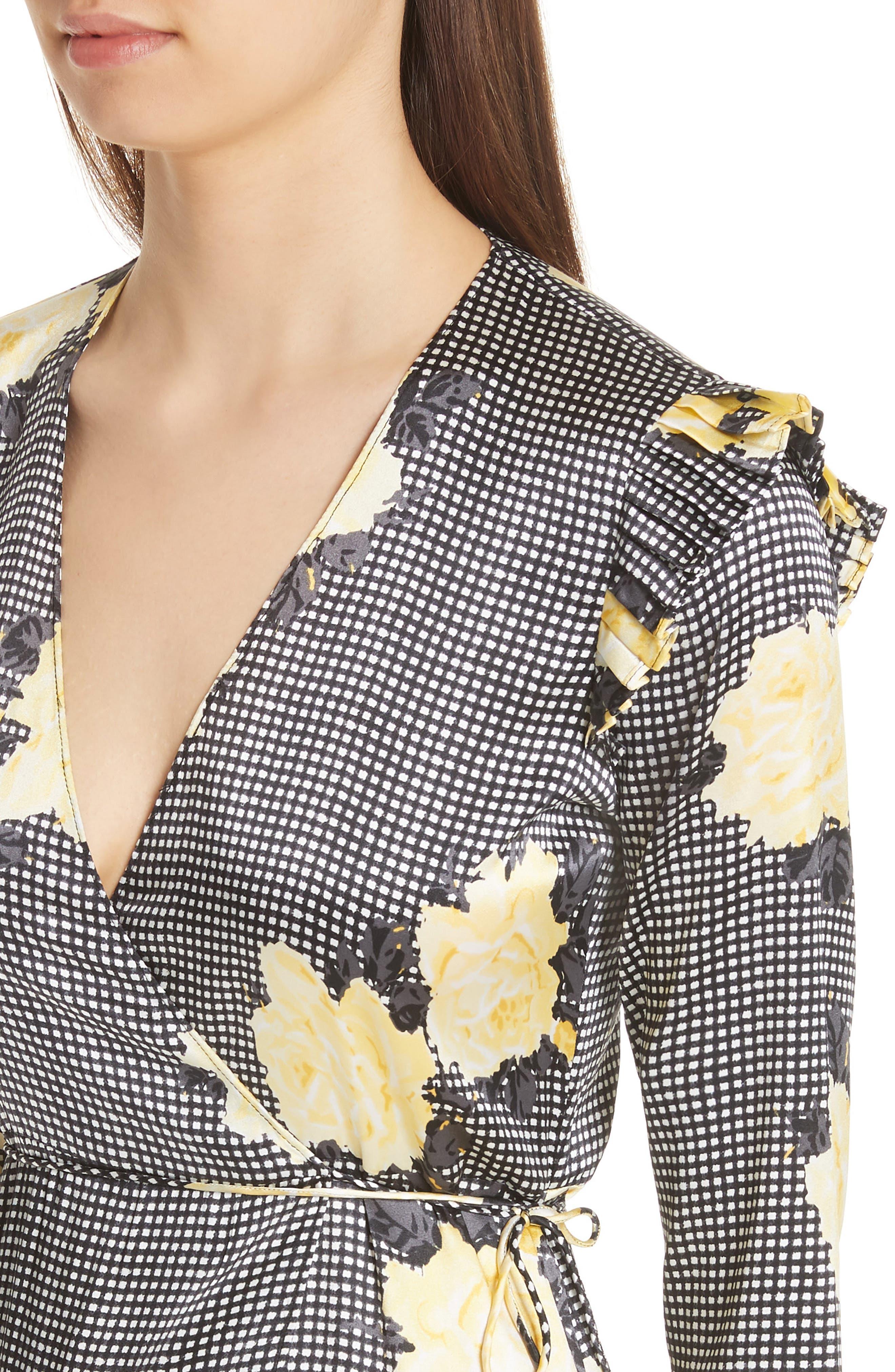 Calla Floral Silk Wrap Dress,                             Alternate thumbnail 4, color,                             BLACK