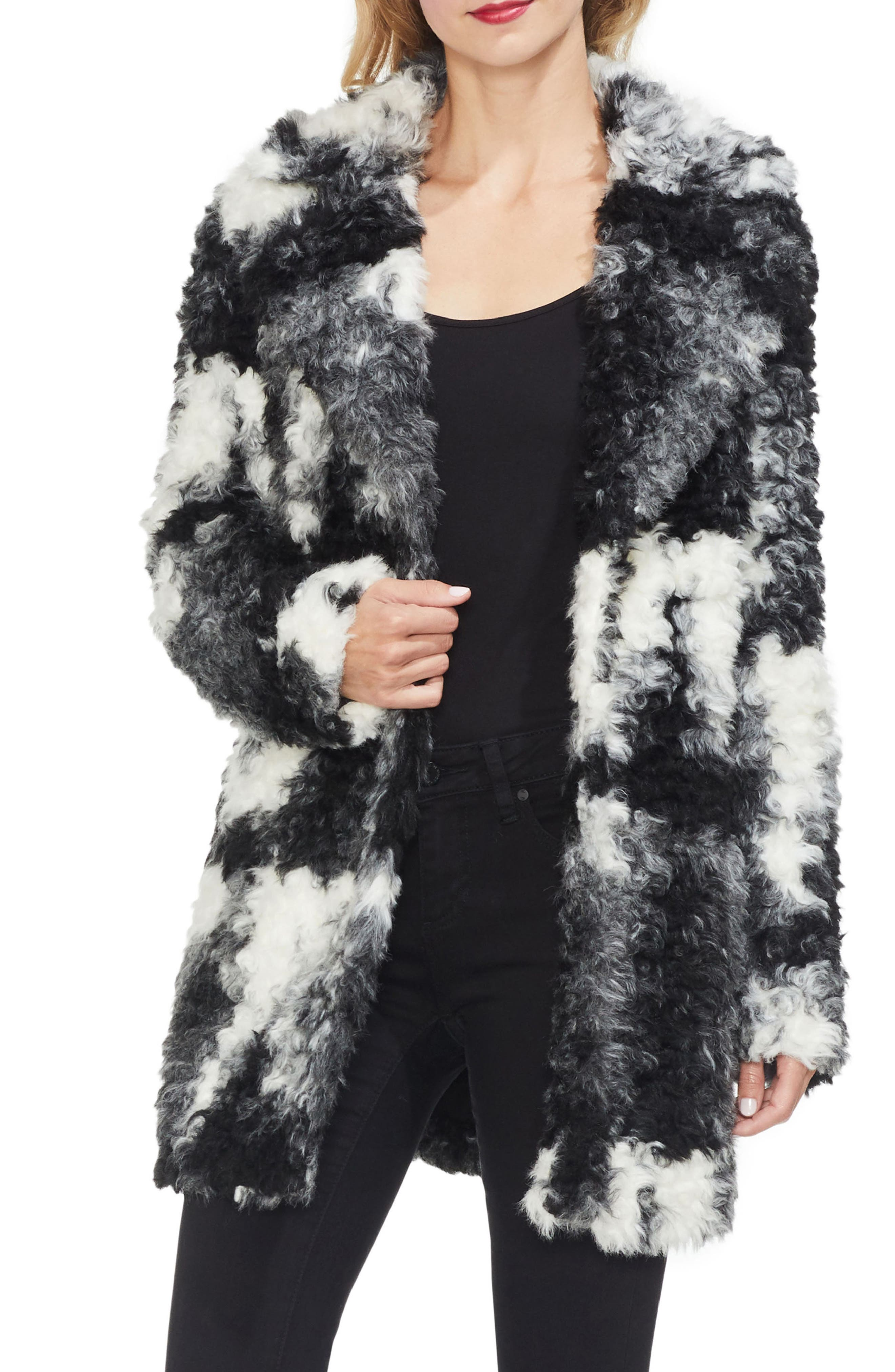 VINCE CAMUTO Marled Shaggy Faux Fur Jacket in Rich Black