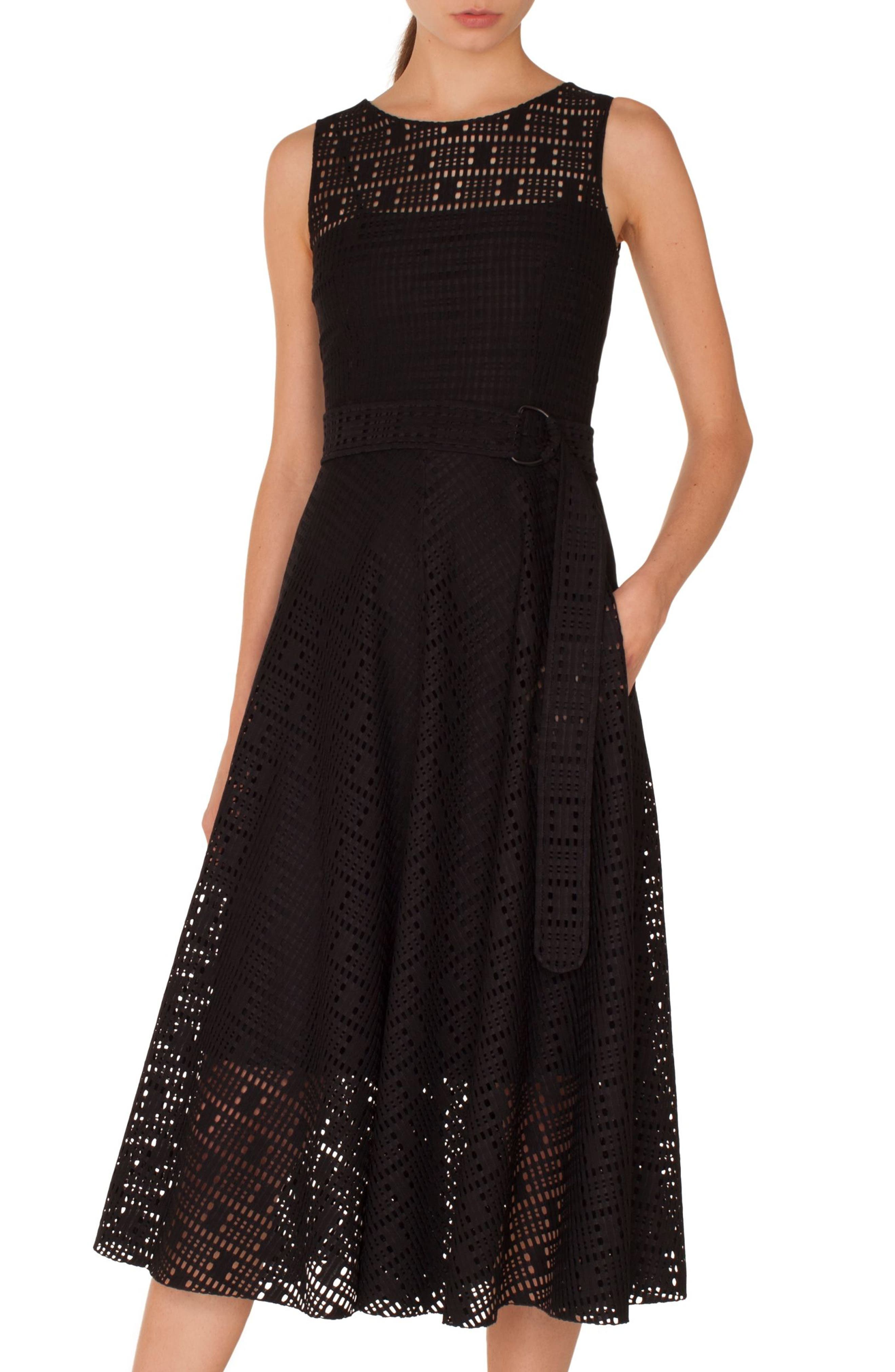 Lace Fit & Flare Dress,                             Main thumbnail 1, color,                             009