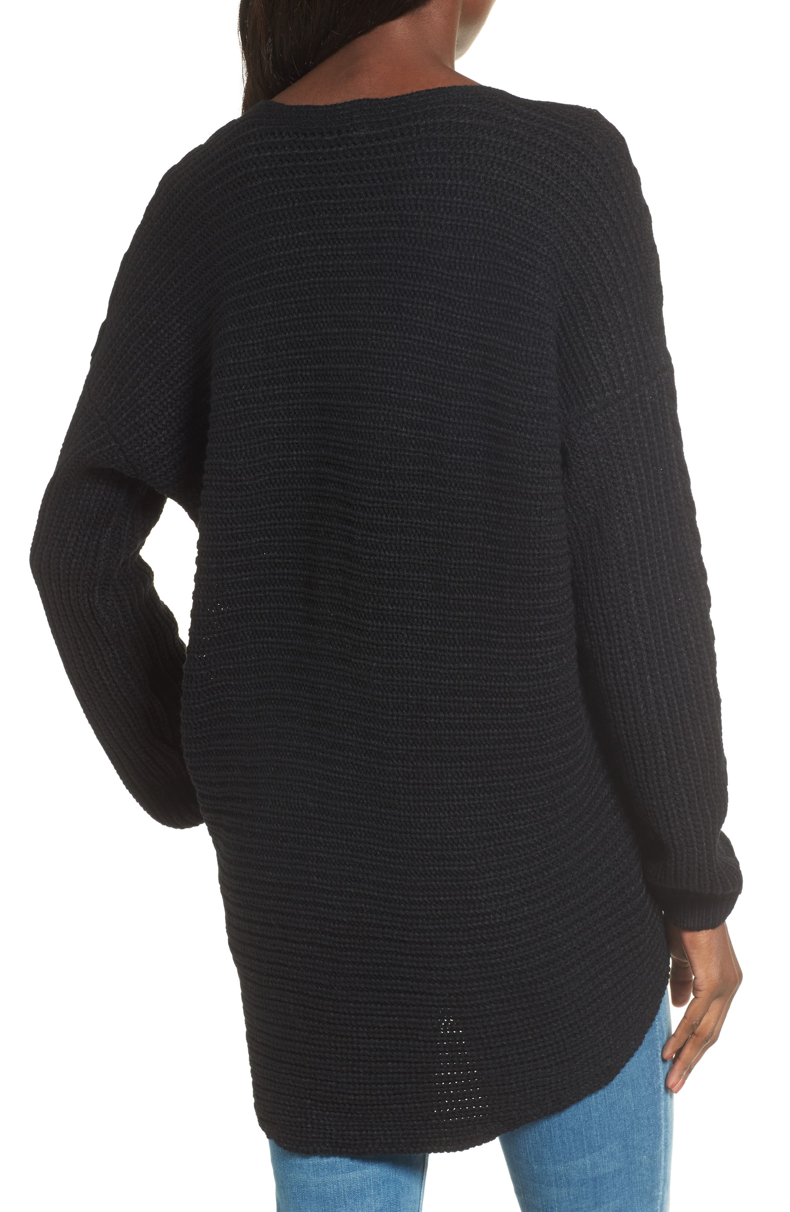 Cross Front Braided Sweater,                             Alternate thumbnail 2, color,                             001