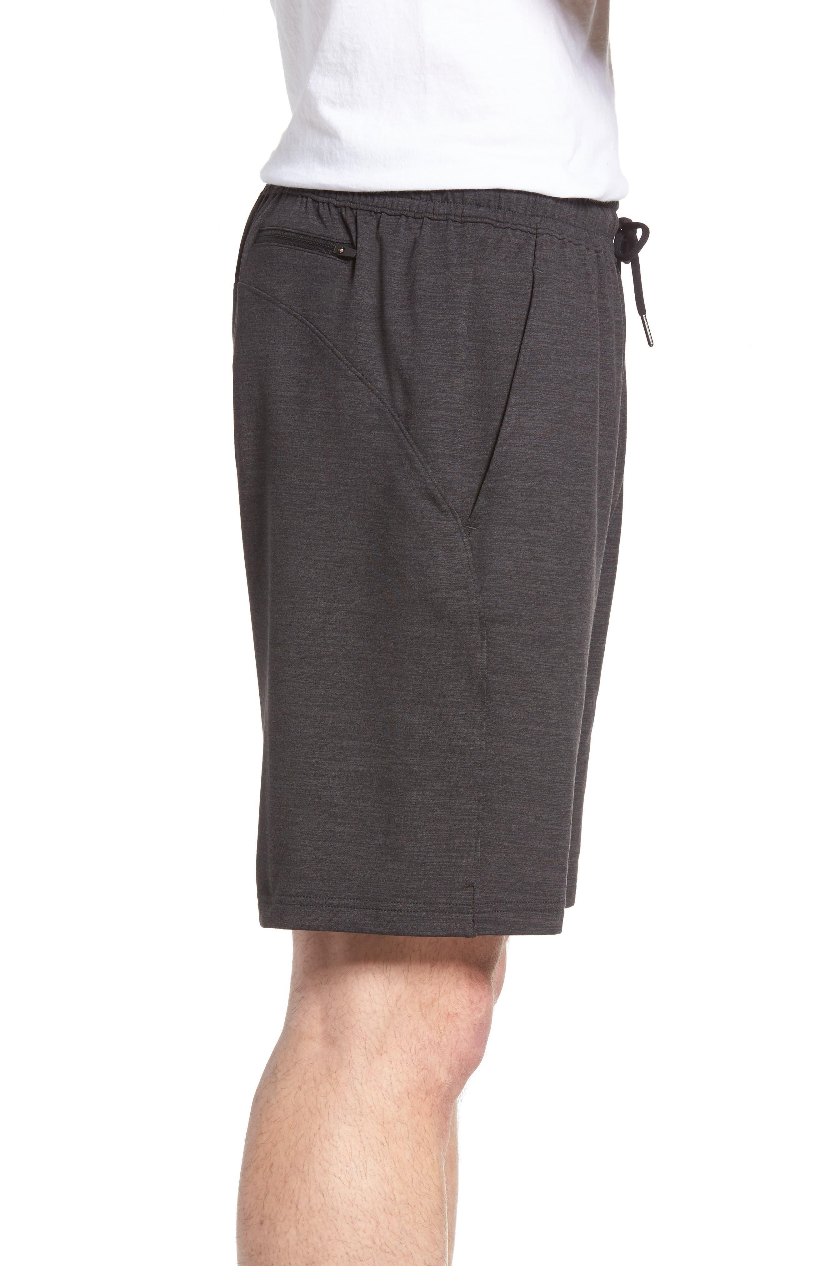 ZELLA,                             Pyrite Knit Shorts,                             Alternate thumbnail 3, color,                             BLACK OXIDE MELANGE