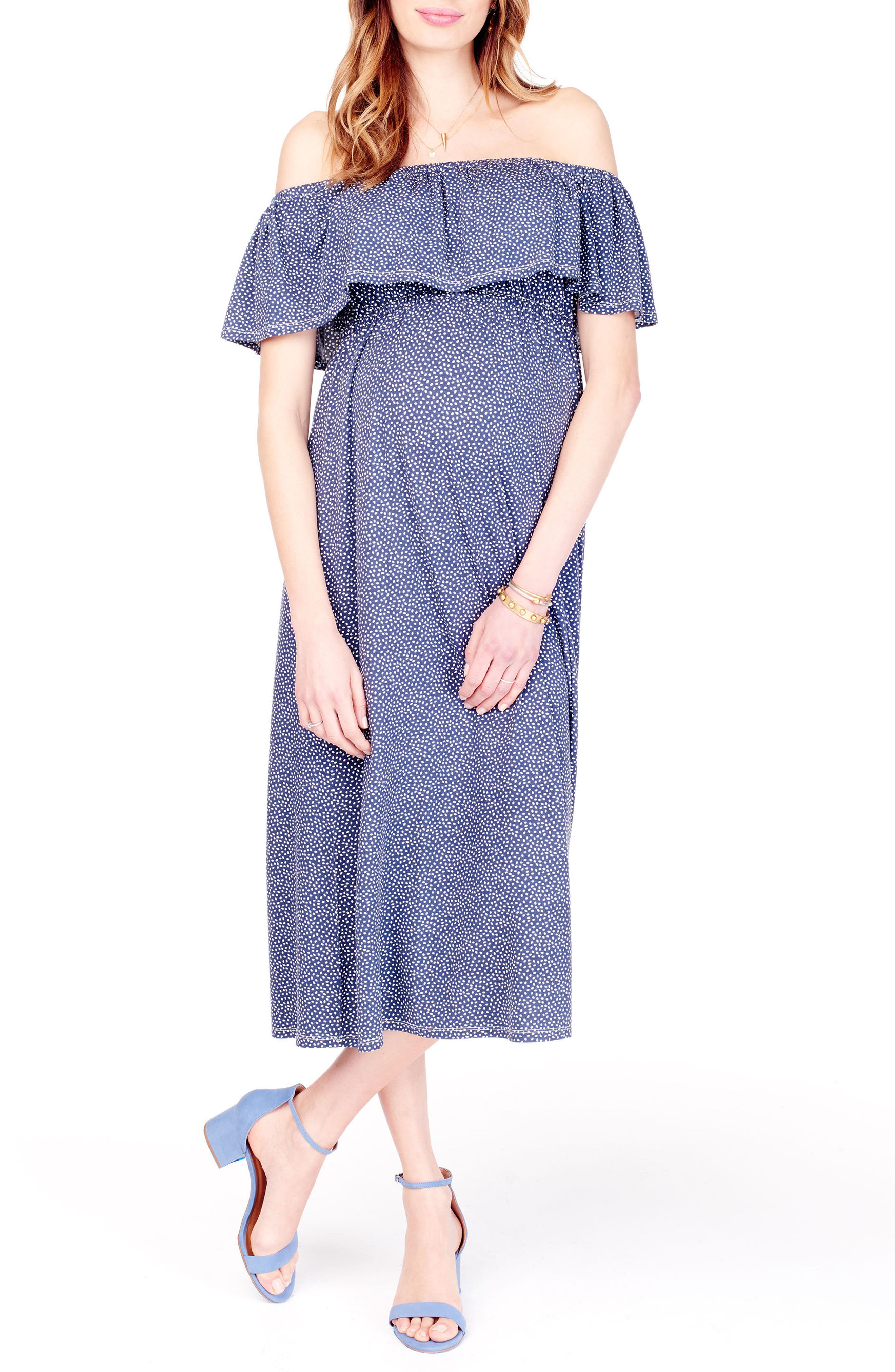 Off the Shoulder Maternity Midi Dress,                         Main,                         color, NAVY TOSSED PETAL