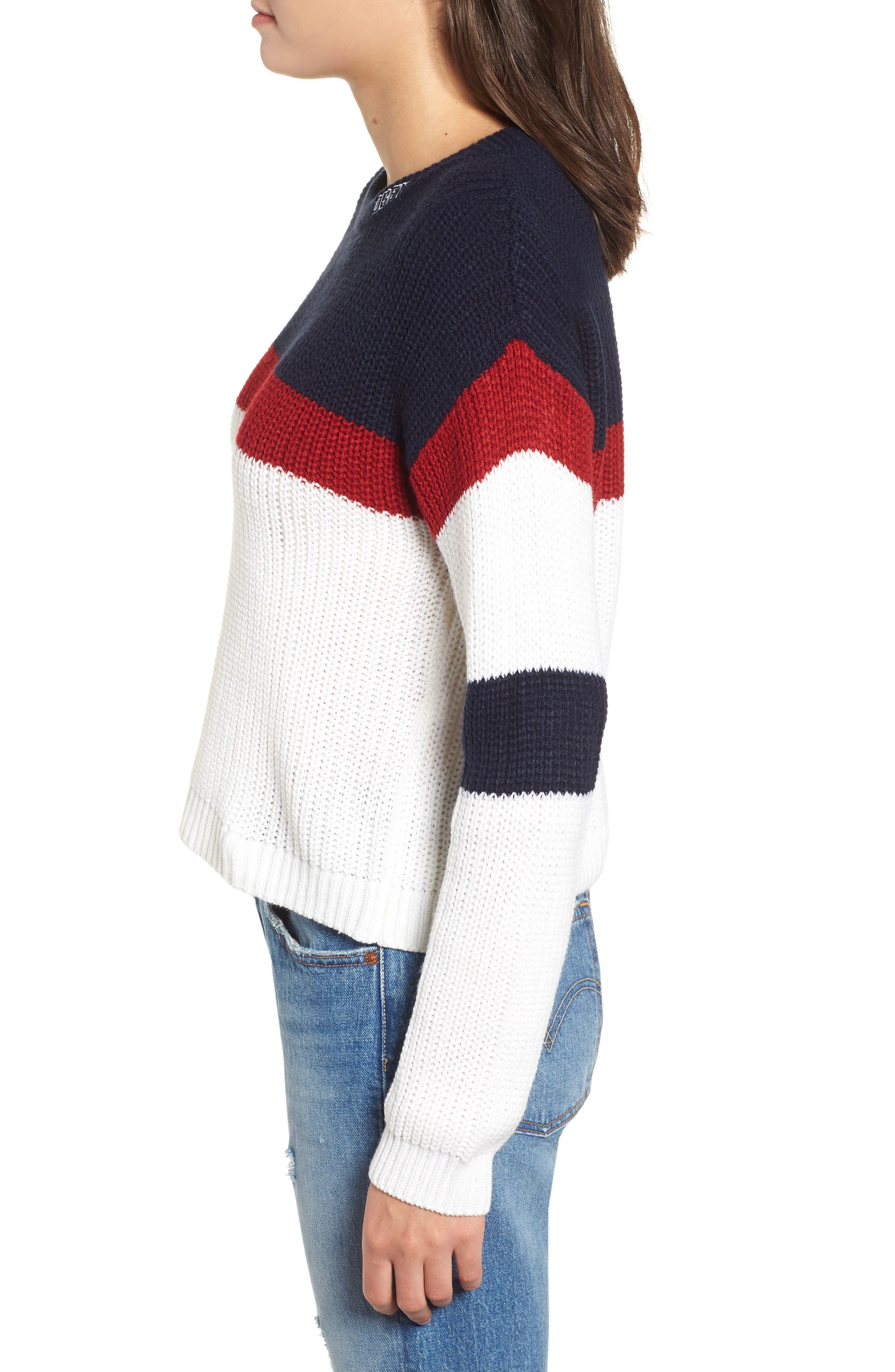 Allie Colorblock Crewneck Sweater,                             Alternate thumbnail 3, color,                             NAVY MULTI