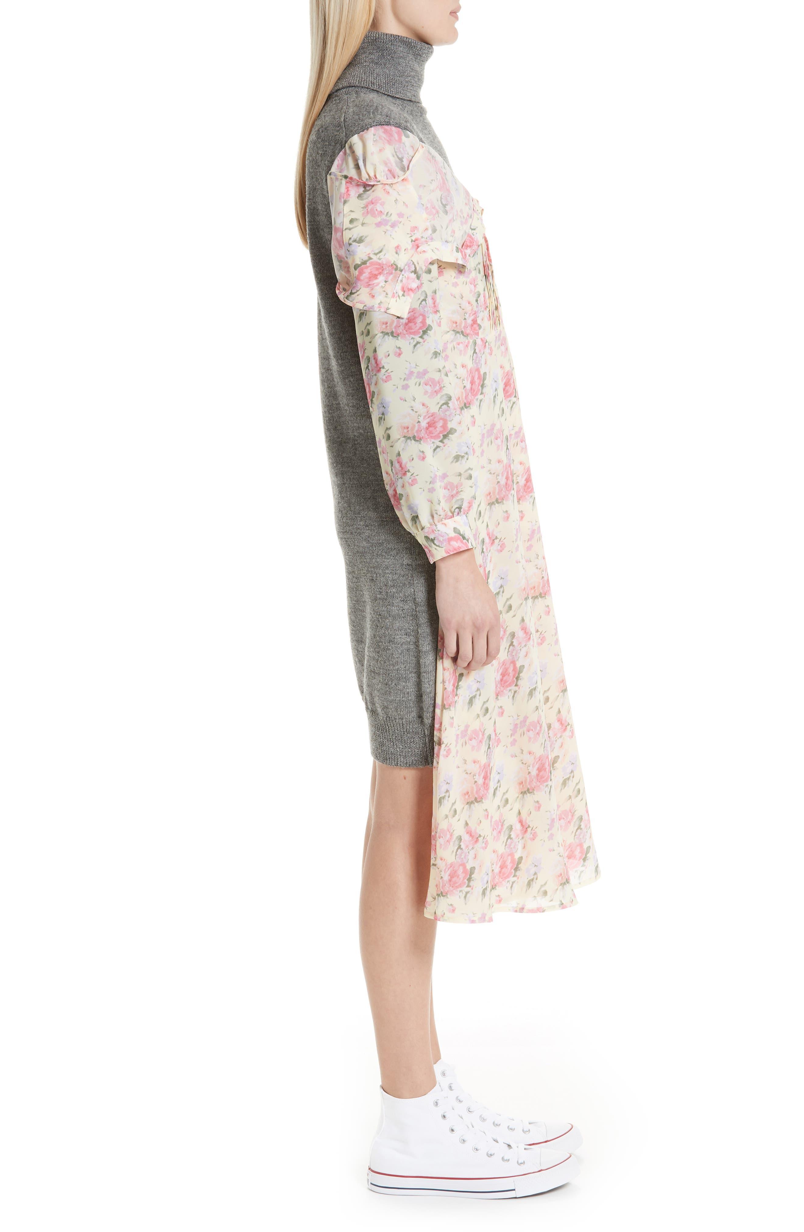 Mixed Media Floral Turtleneck Dress,                             Alternate thumbnail 3, color,                             YELLOW/ PINK/ PPL/ GREY