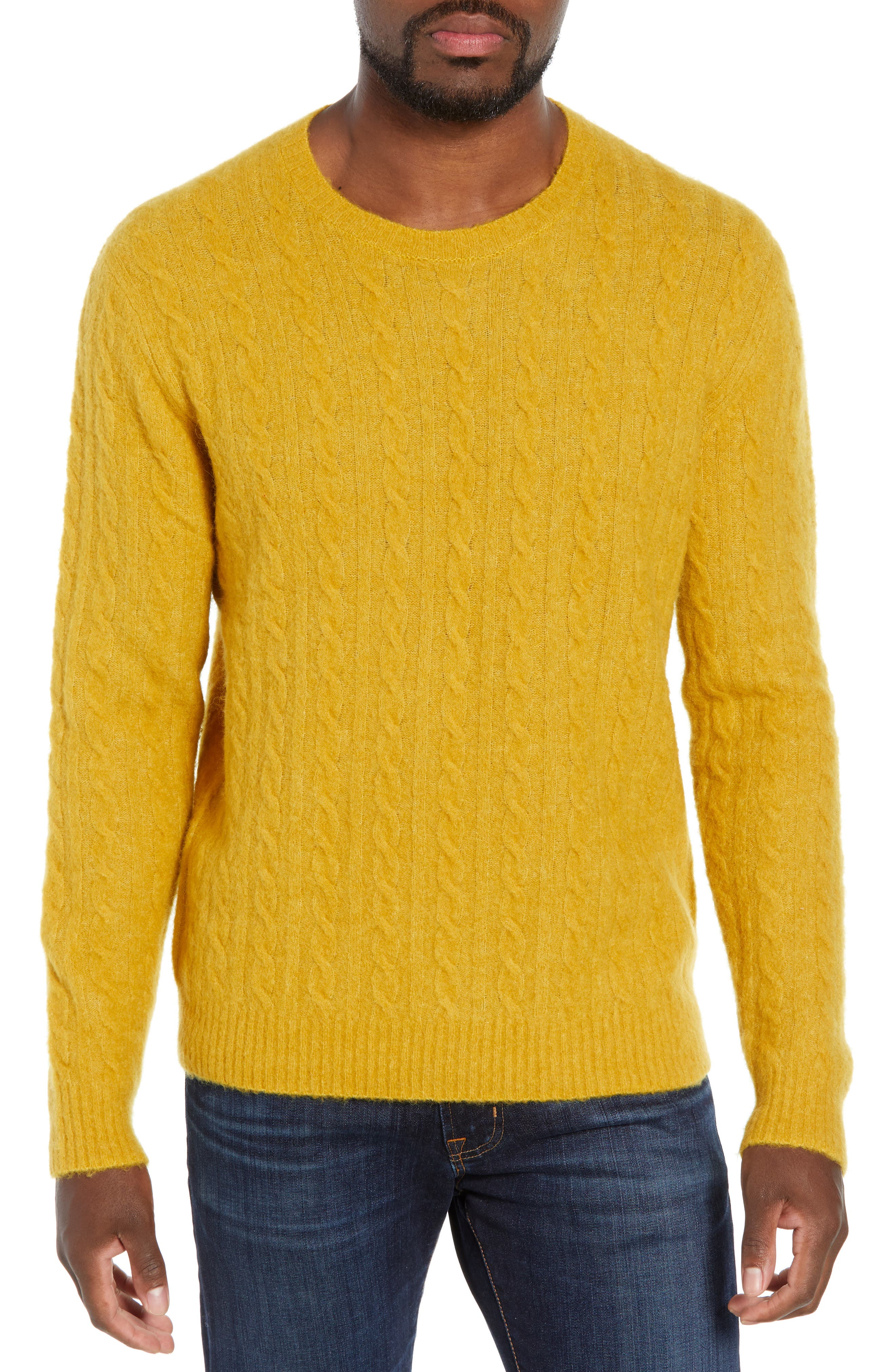 BONOBOS Slim Fit Cable Wool Blend Sweater in Honeycomb