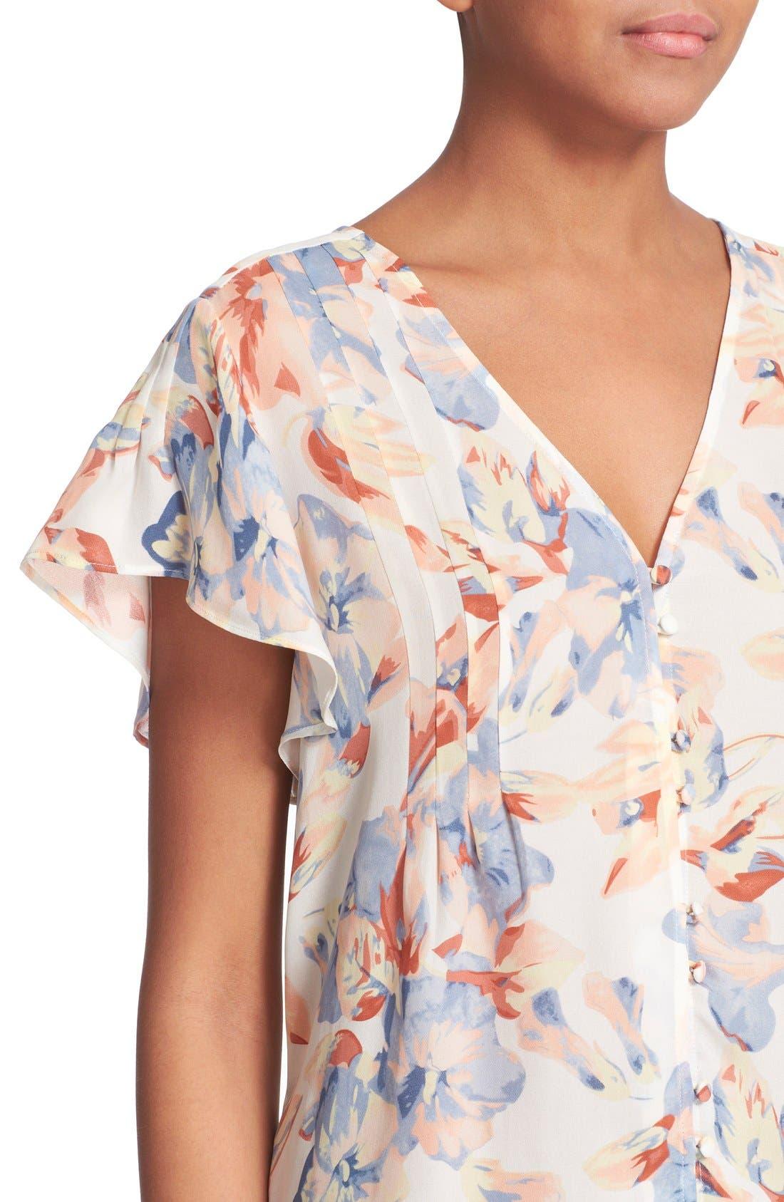 JOIE,                             'Annite' Floral Print Silk Top,                             Alternate thumbnail 5, color,                             901