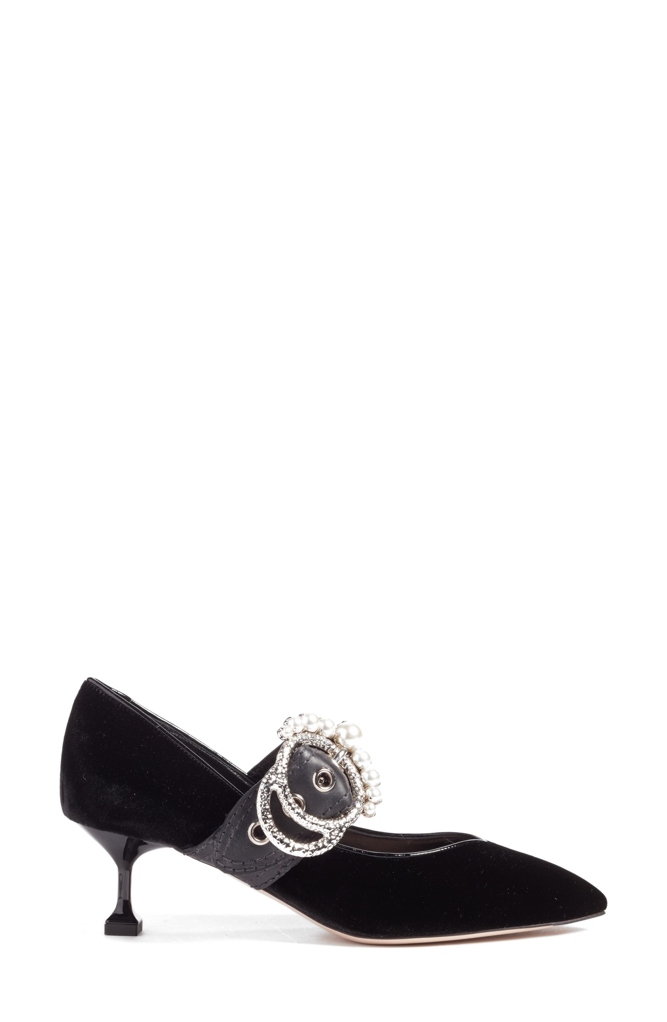 Embellished Buckle Pointy Toe Pump,                             Alternate thumbnail 3, color,                             001