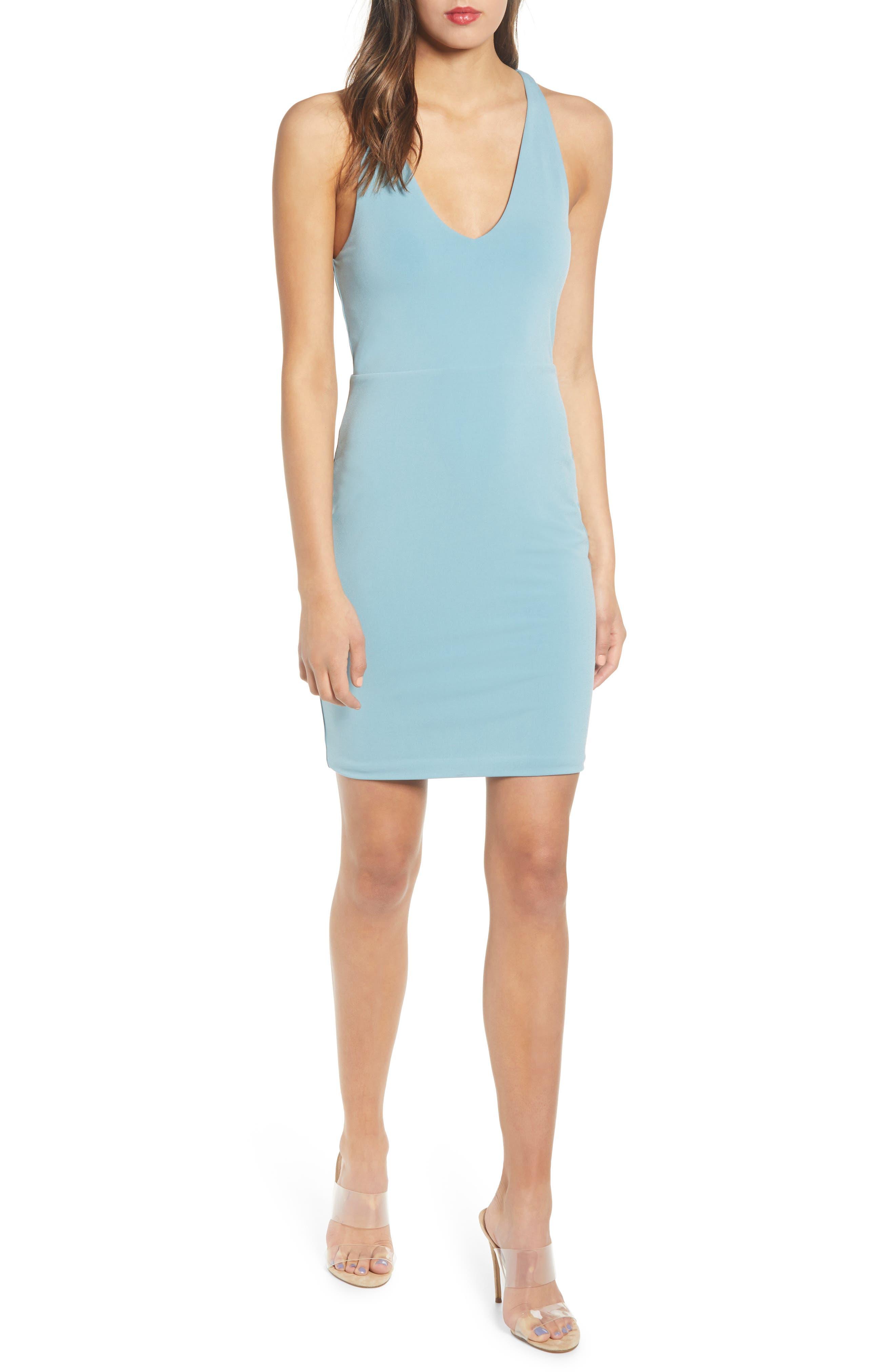 Leith Racerback Body-Con Dress, Blue