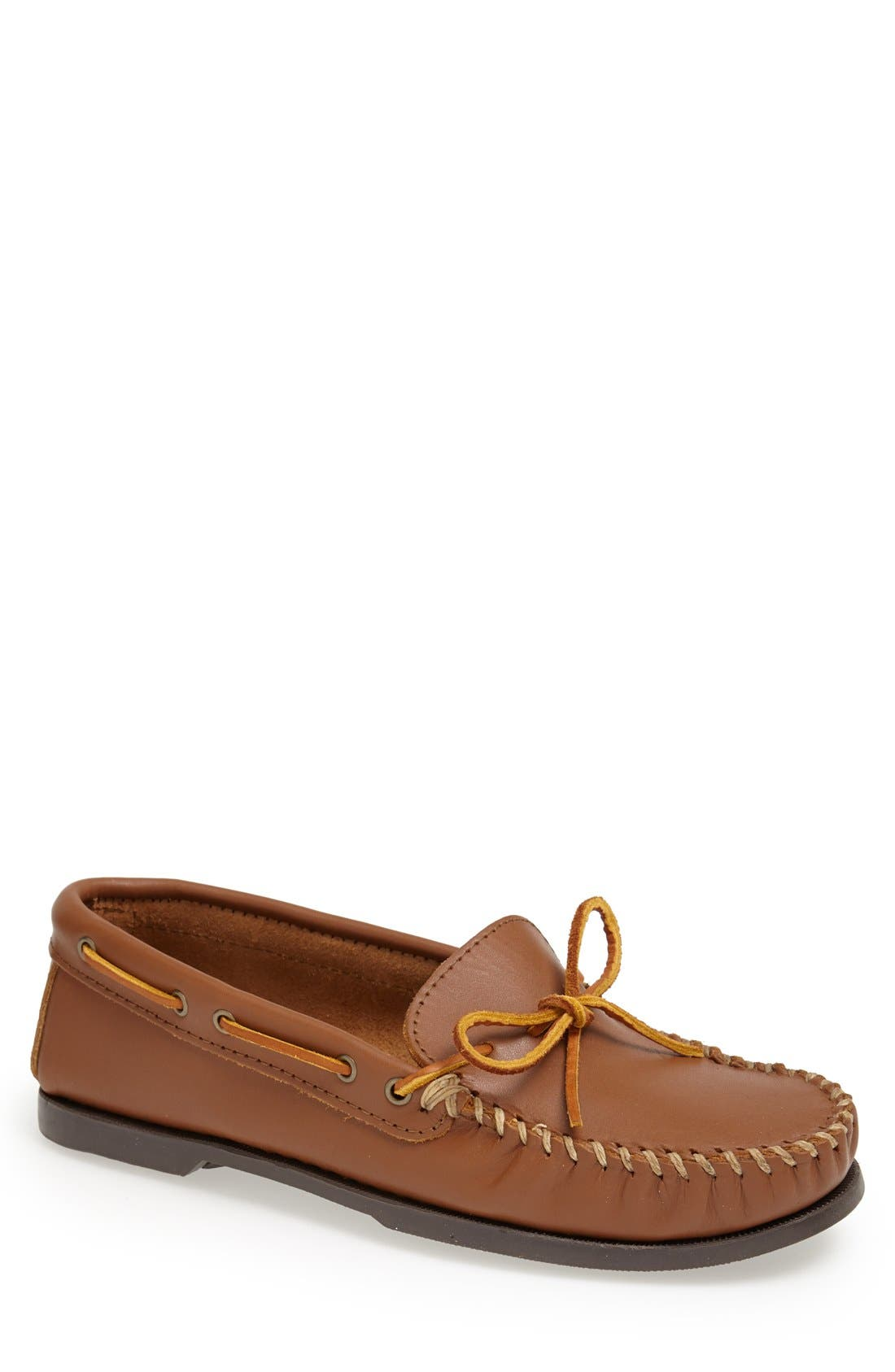 Leather Camp Moccasin,                             Main thumbnail 1, color,                             MAPLE