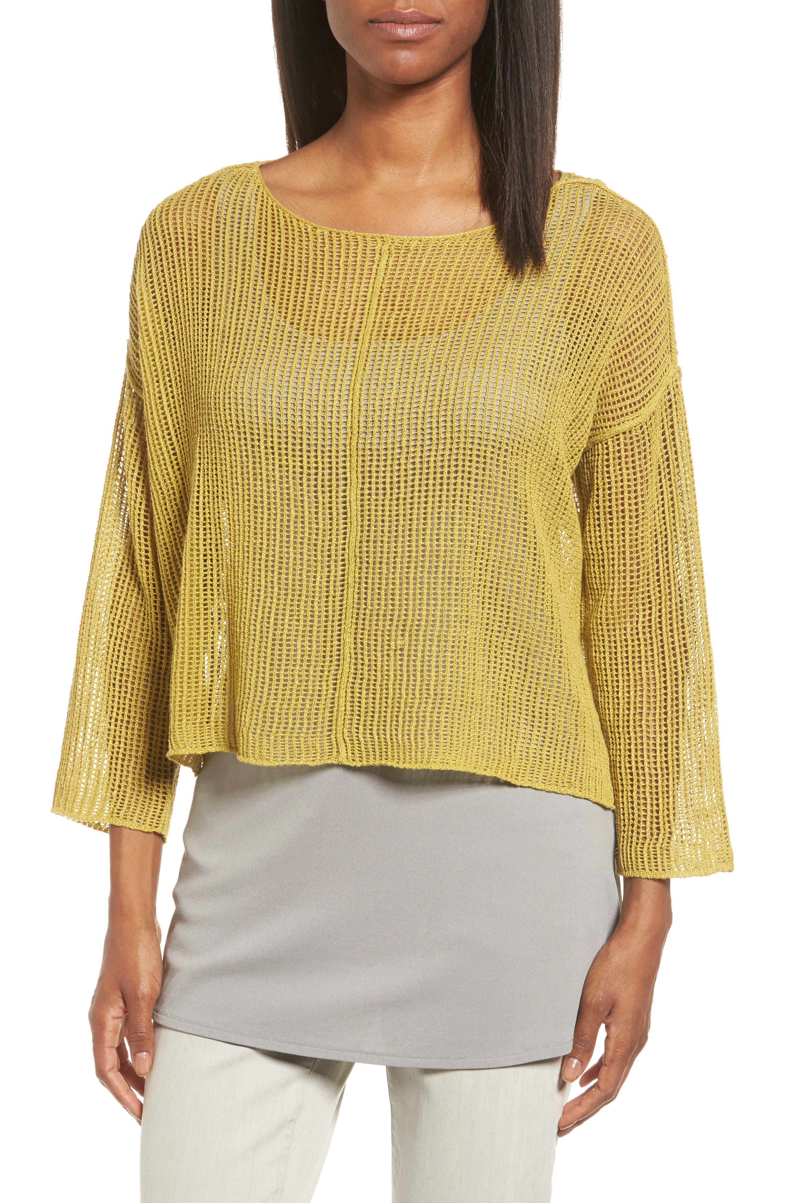 Organic Linen Crop Sweater,                             Main thumbnail 4, color,