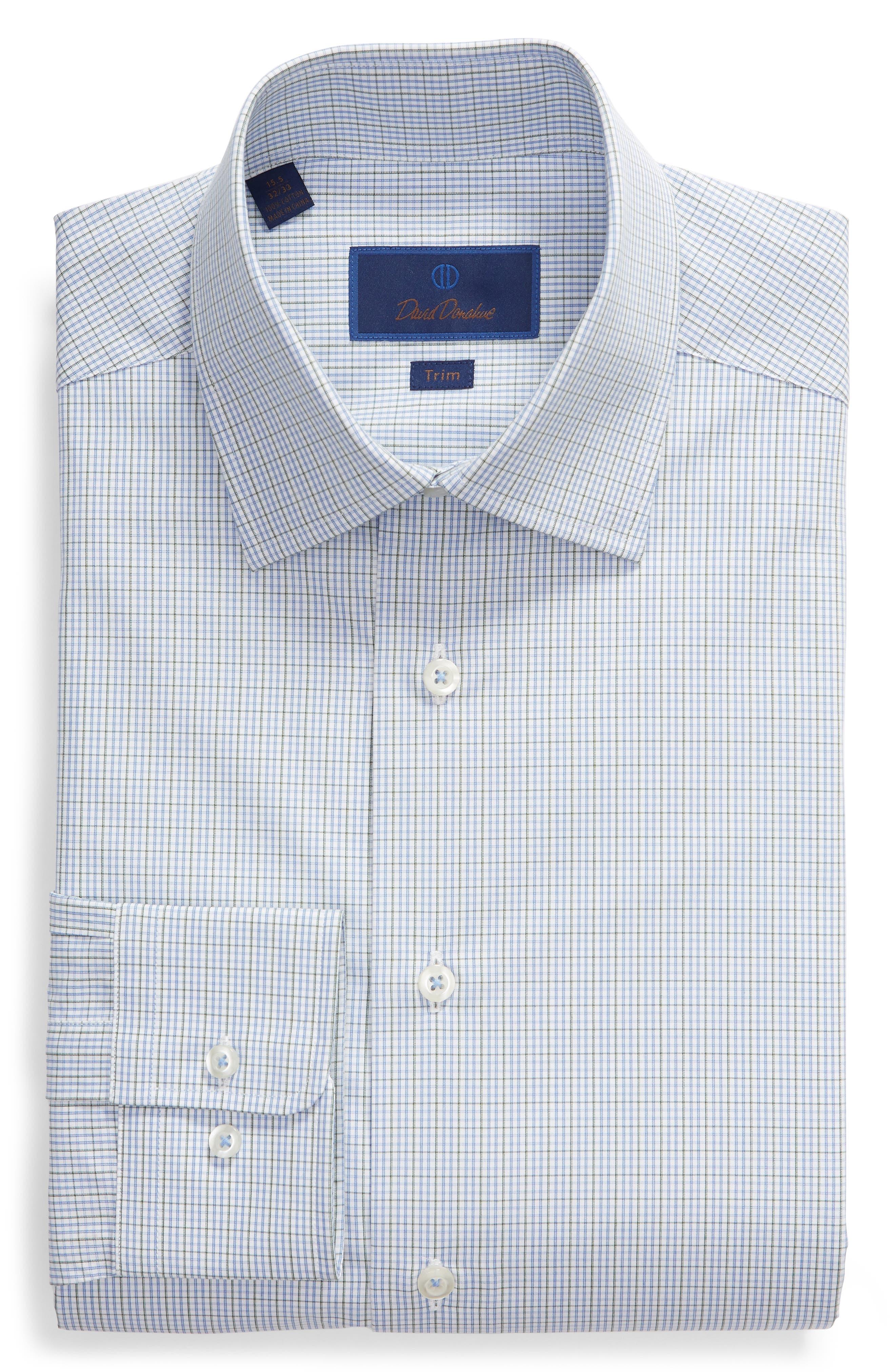Trim Fit Check Dress Shirt,                             Alternate thumbnail 5, color,                             OLIVE