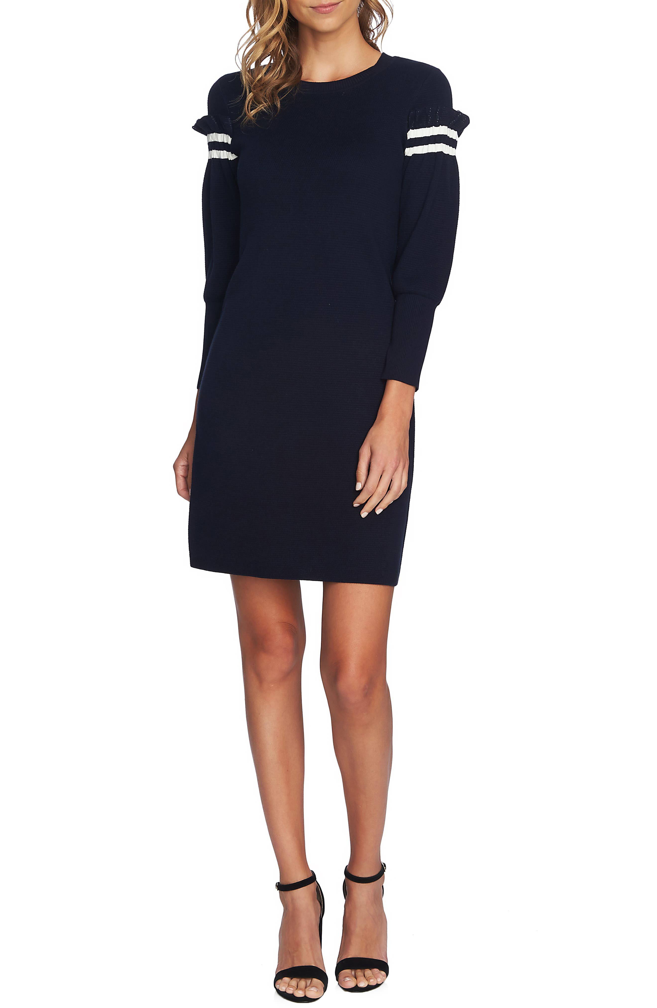 Puffed Sleeve Sweater Dress,                             Main thumbnail 1, color,                             CAVIAR