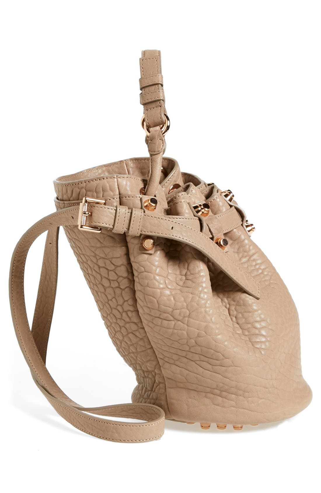 'Small Diego - Rose Gold' Leather Bucket Bag,                             Alternate thumbnail 3, color,                             250