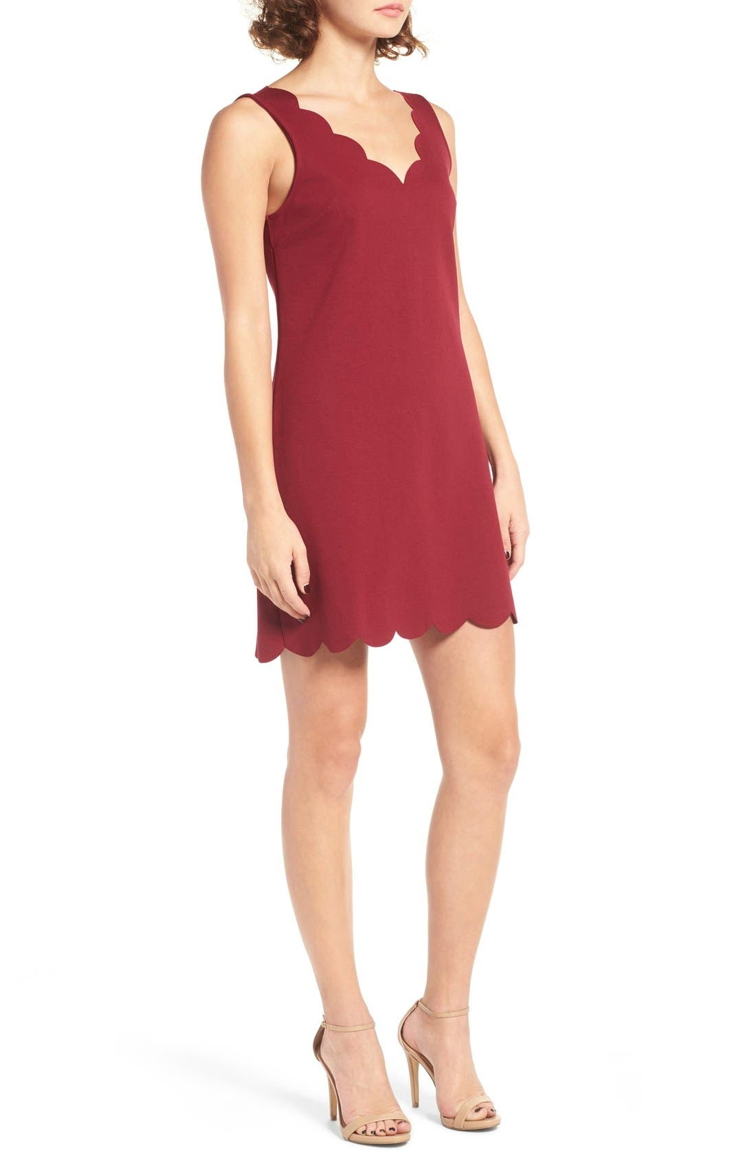 Scalloped V-Neck A-Line Dress,                             Alternate thumbnail 3, color,                             690