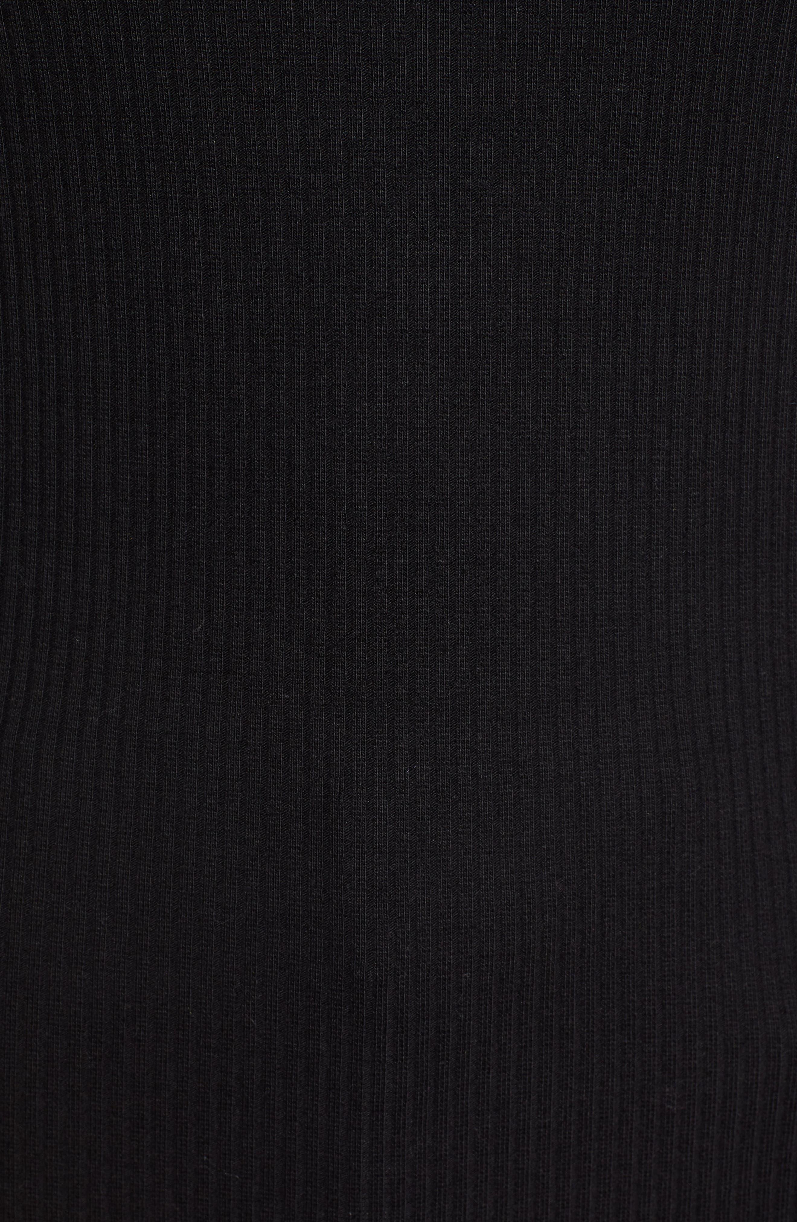 Rib Crewneck Stretch Cotton Top,                             Alternate thumbnail 5, color,                             BLACK