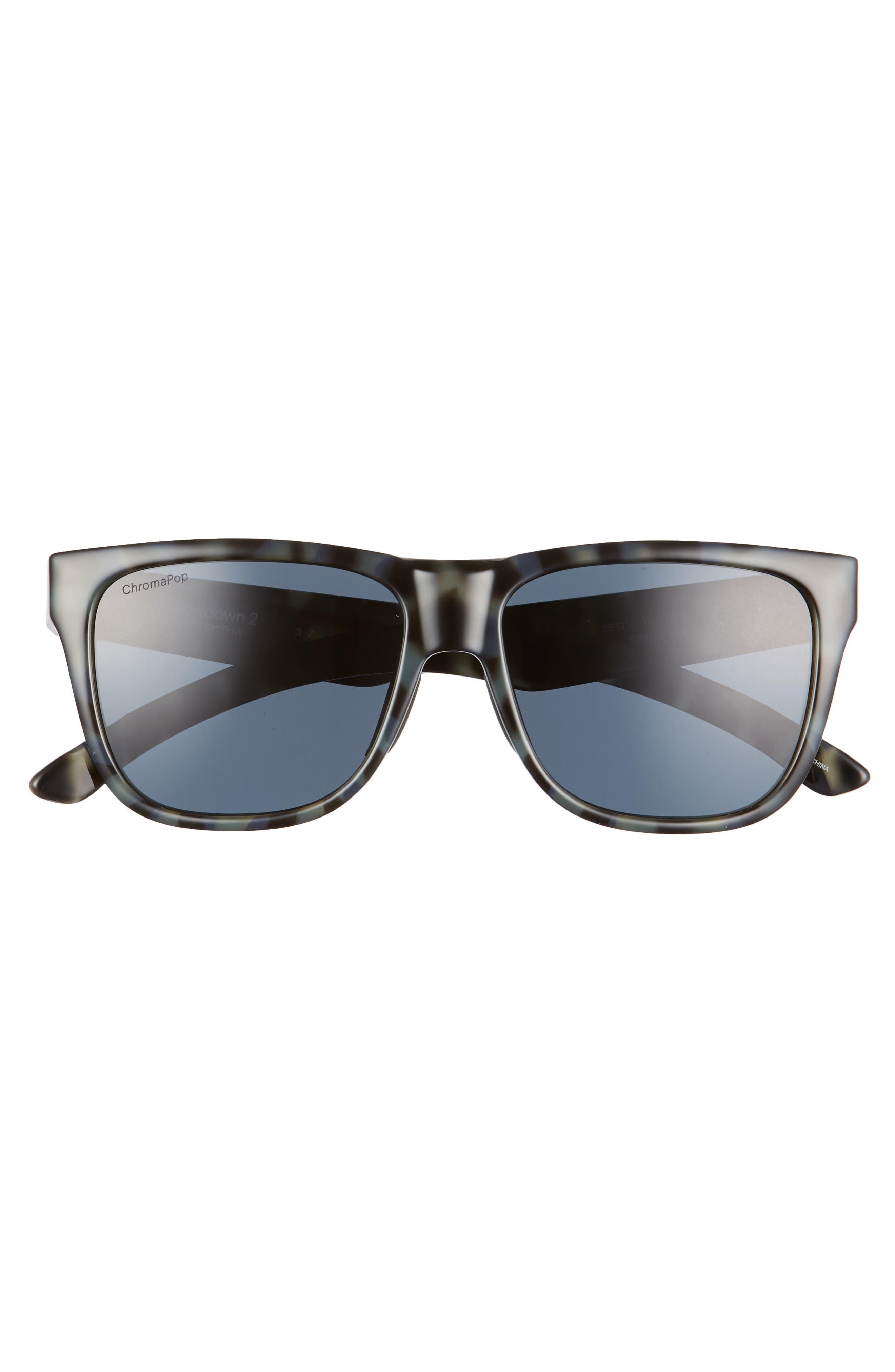 Lowdown 2 55mm ChromaPop<sup>™</sup> Square Sunglasses,                             Alternate thumbnail 3, color,                             CAMO TORTOISE