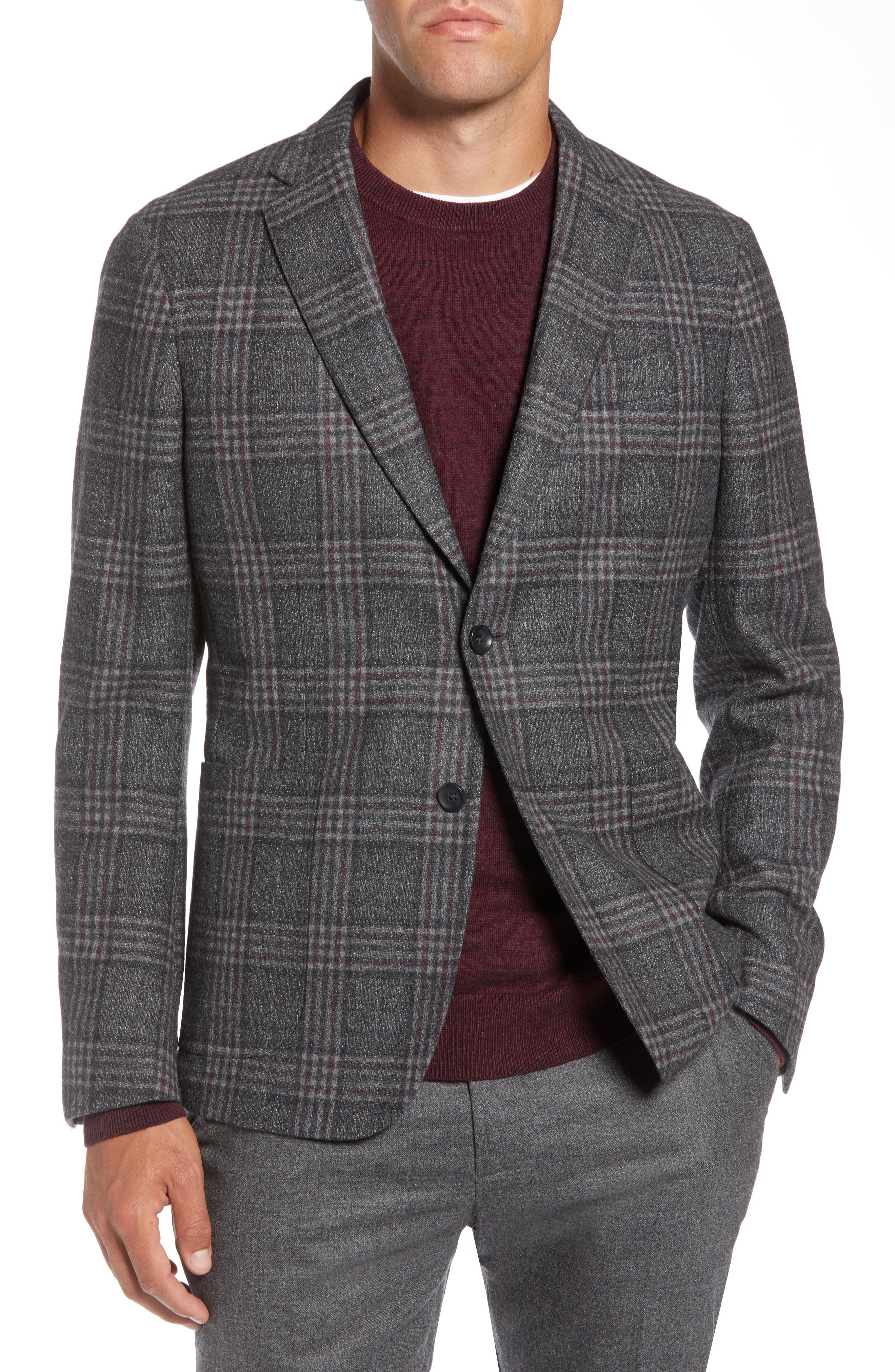 Extra Trim Fit Wool Blend Soft Coat,                         Main,                         color, CHARCOAL