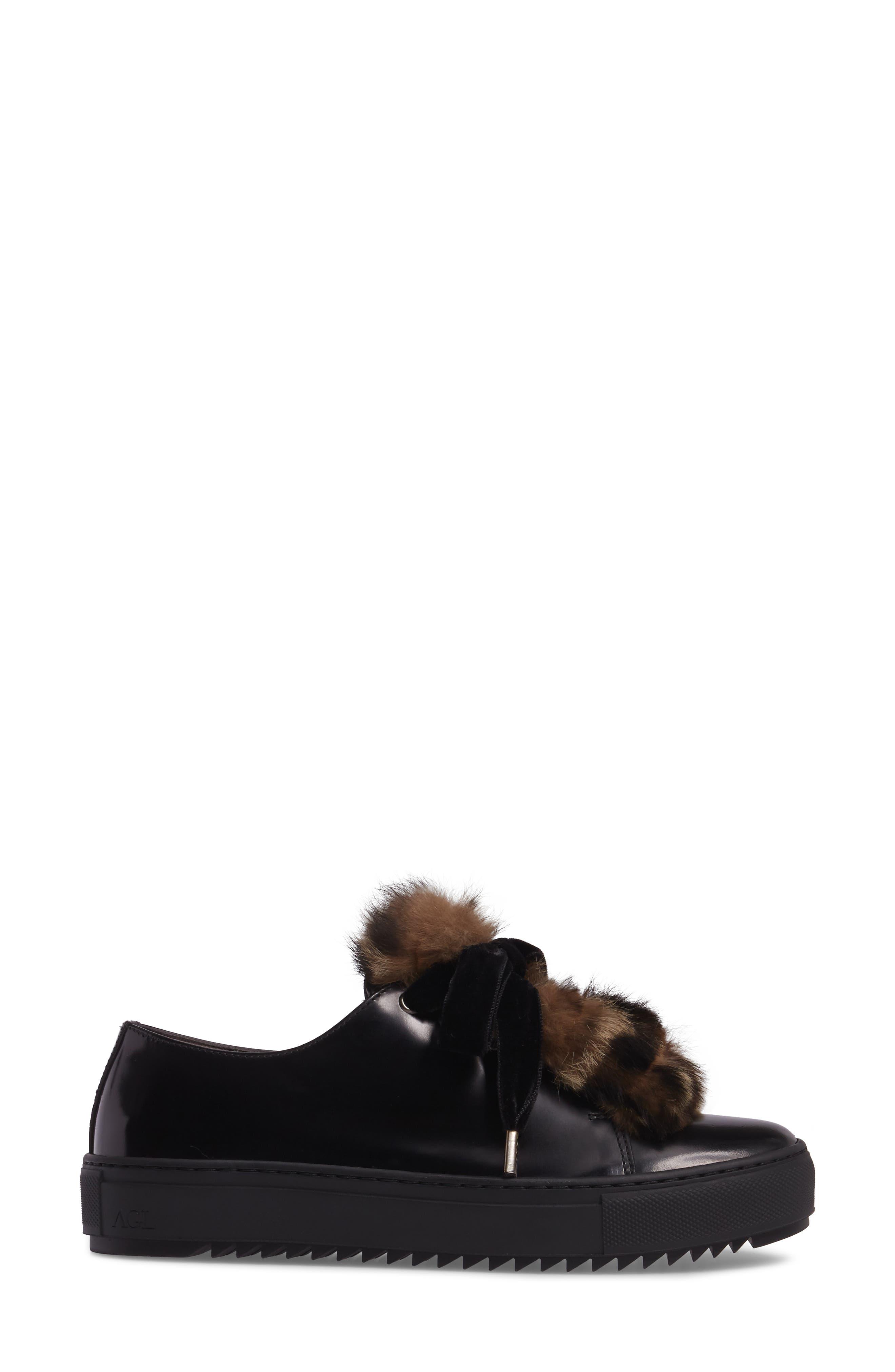 Fluff Genuine Rabbit Fur Sneaker,                             Alternate thumbnail 3, color,                             001