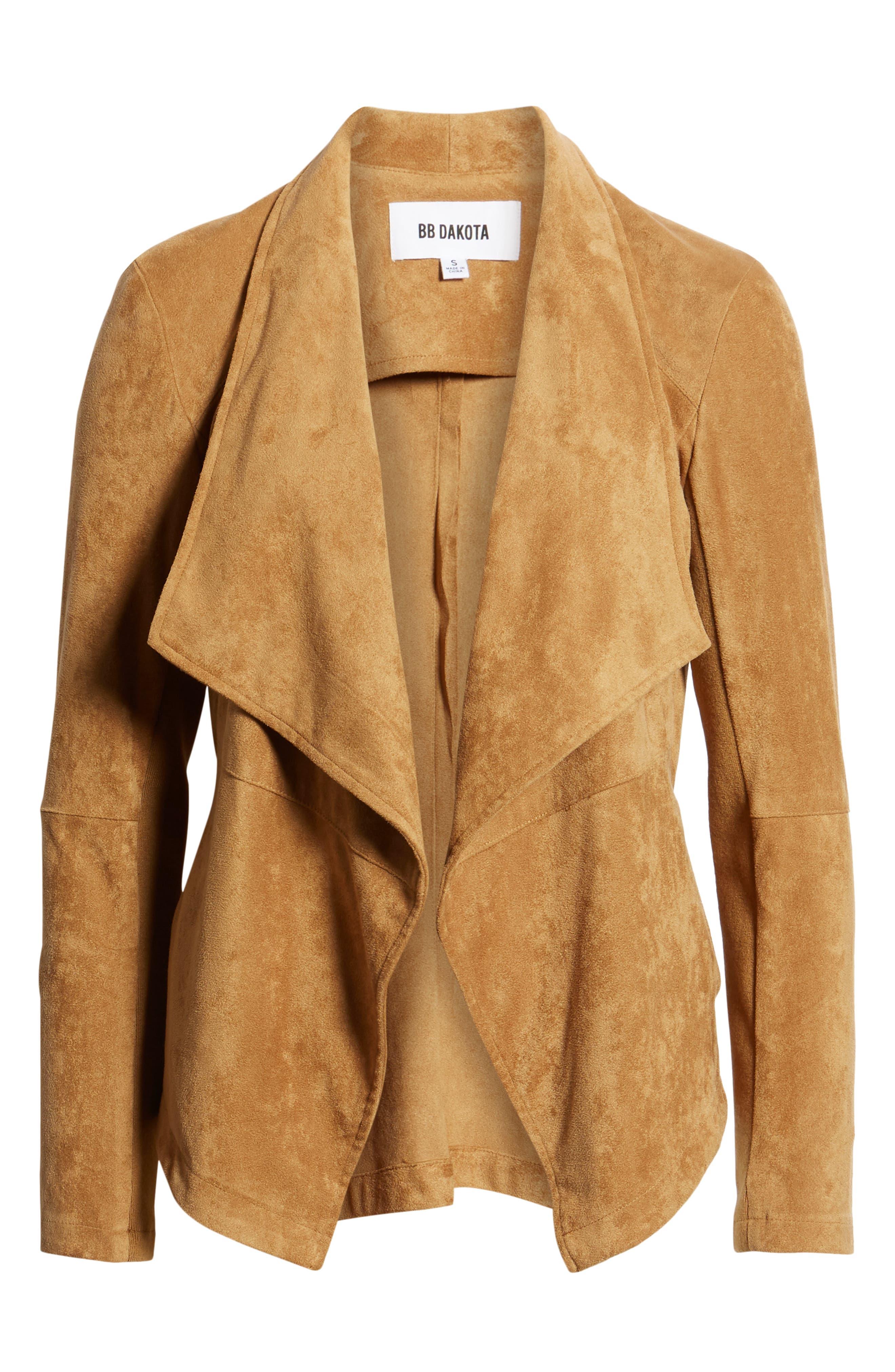 BB DAKOTA,                             Nicholson Faux Suede Drape Front Jacket,                             Alternate thumbnail 6, color,                             WHISKEY