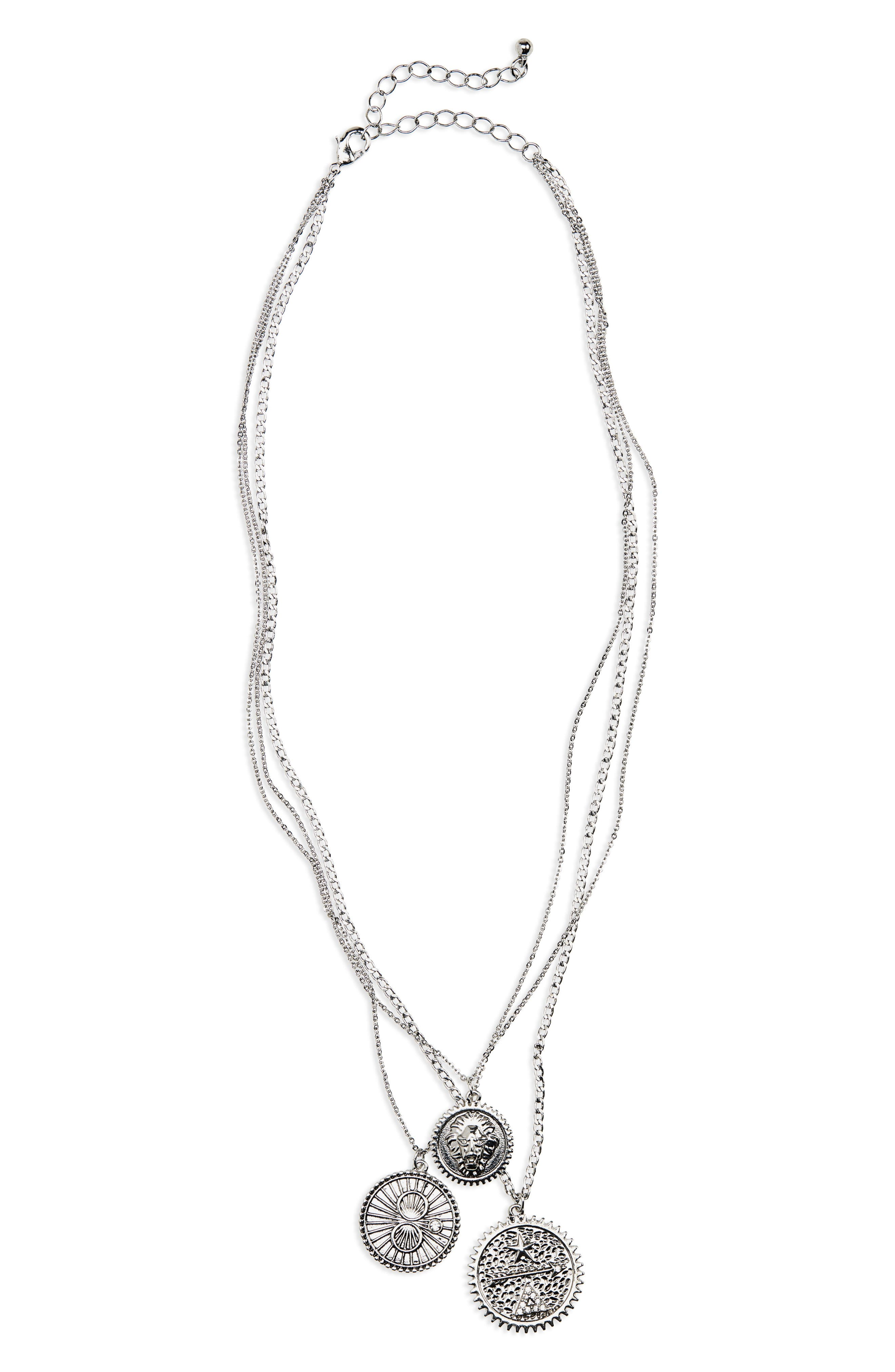 Layered Pendant Necklace,                         Main,                         color, SILVER/ CRYSTAL