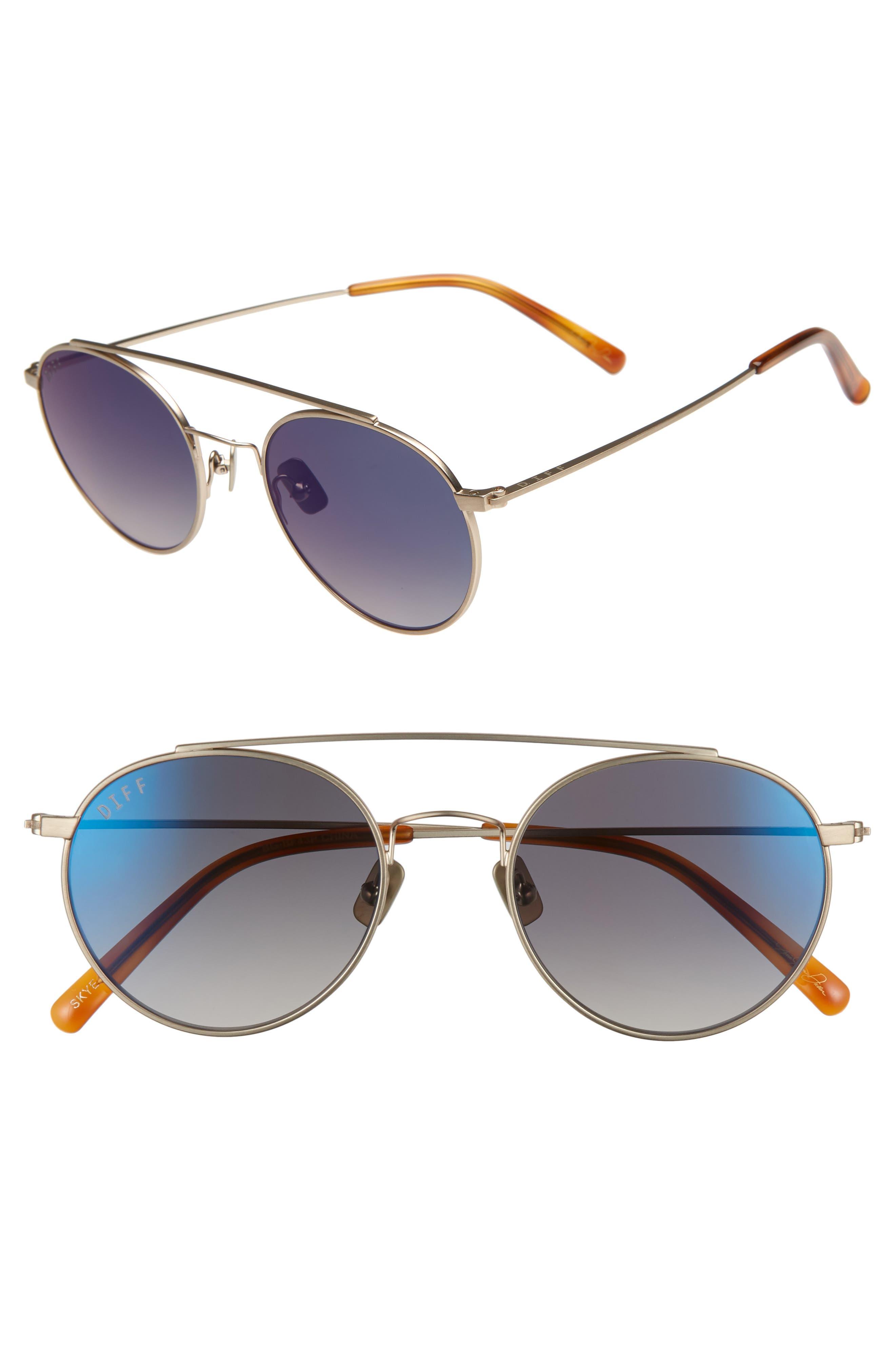 Skye 51mm Aviator Sunglasses,                         Main,                         color, BRUSHED GOLD/ BLUE