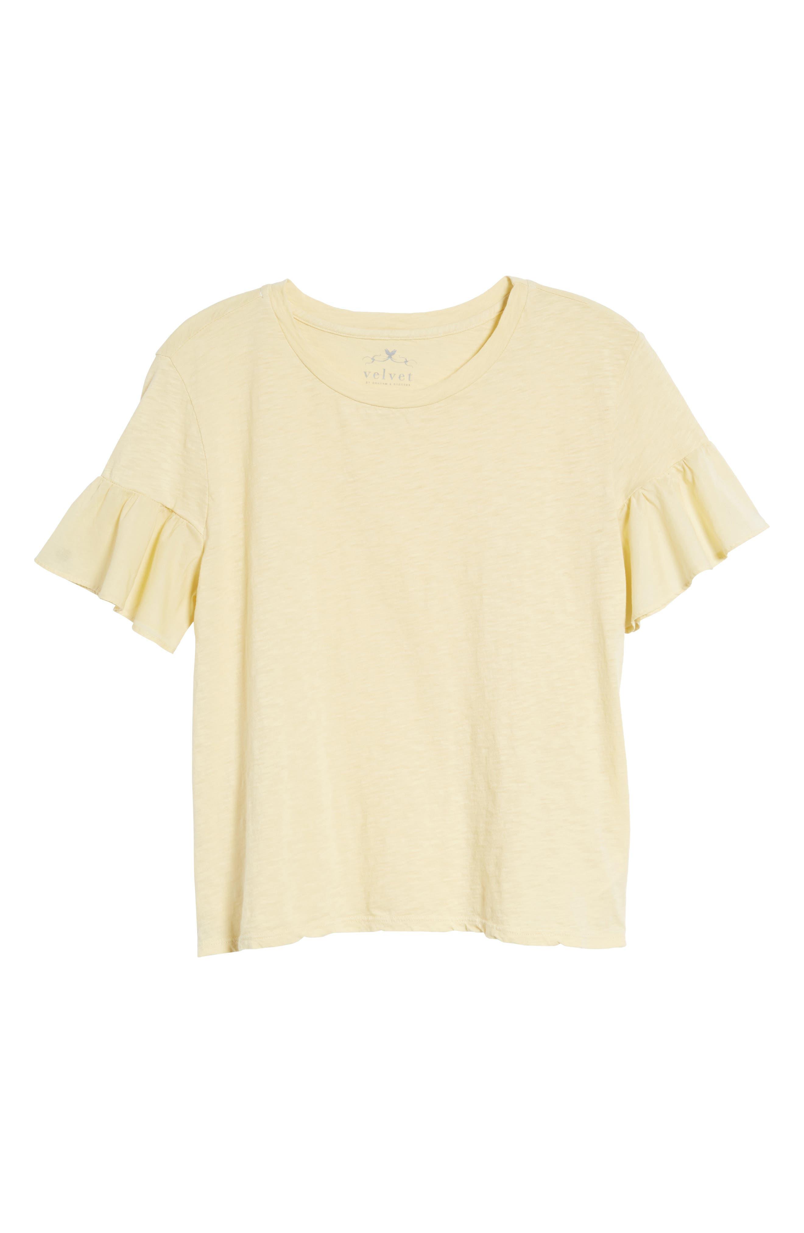 Slub Cotton Voile Sleeve Tee,                             Alternate thumbnail 6, color,                             CHICK YELLOW