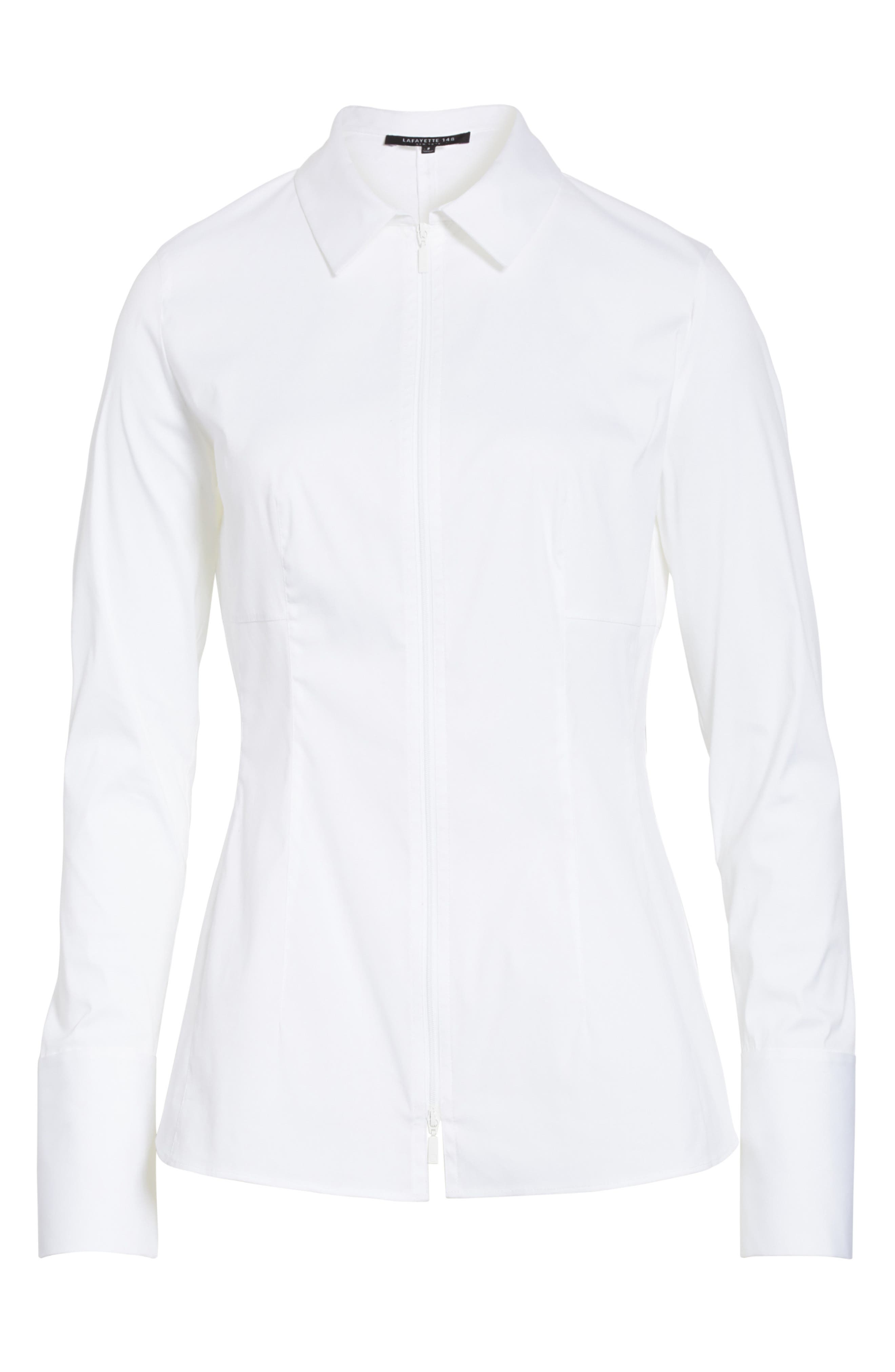 Kia Stretch Cotton Blouse,                             Alternate thumbnail 6, color,                             100