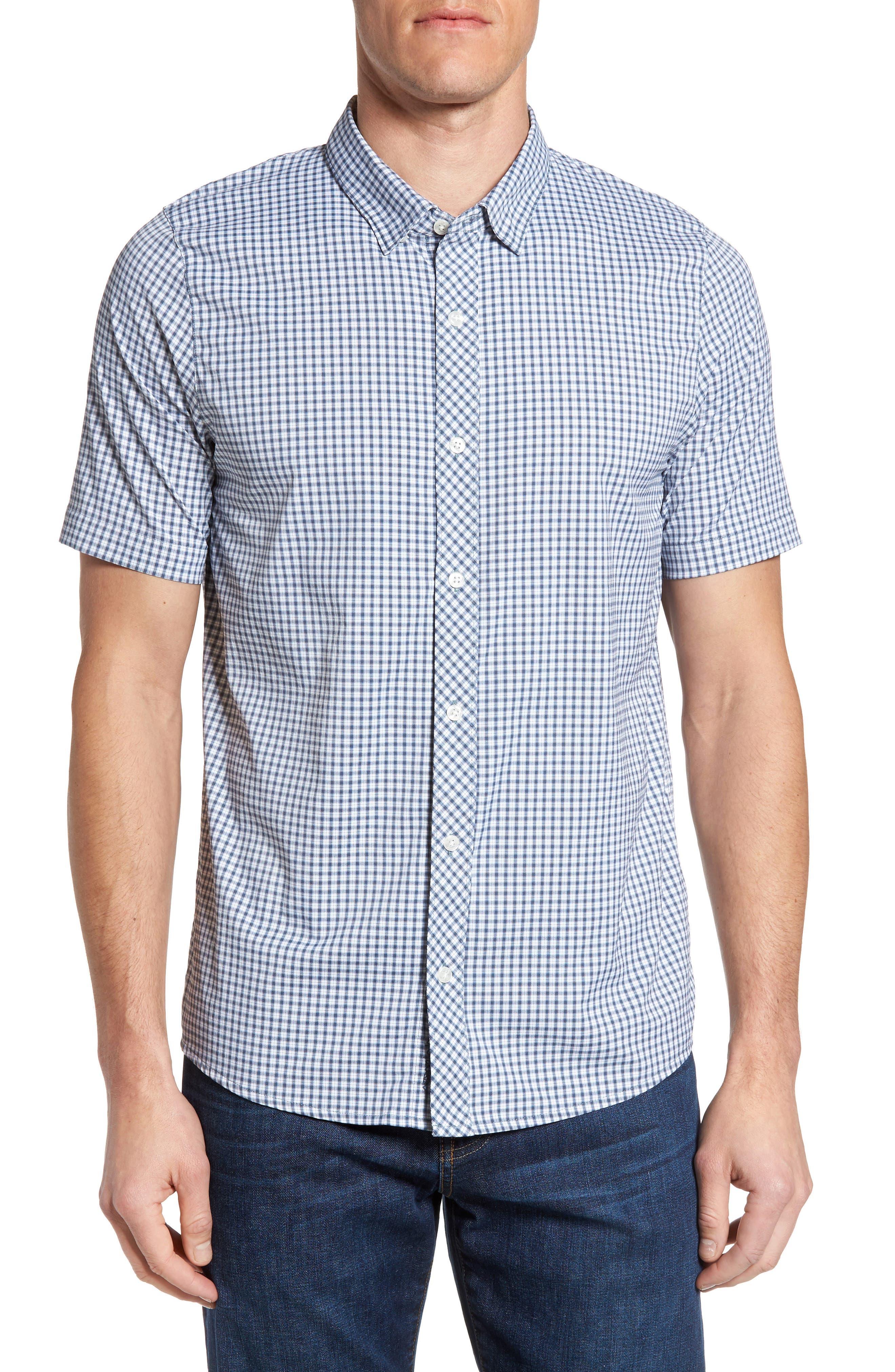 Barker Trim Fit Plaid Sport Shirt,                         Main,                         color, 400