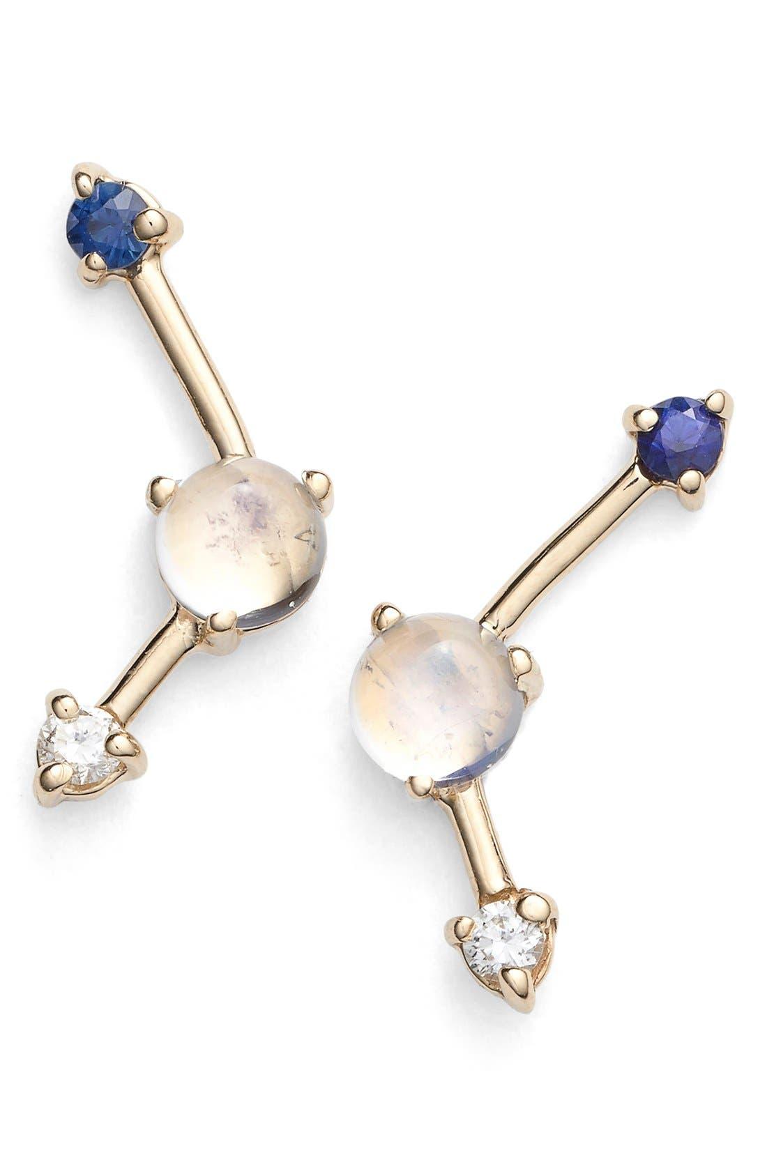 Sapphire, Moonstone & Diamond Earrings,                         Main,                         color, 710