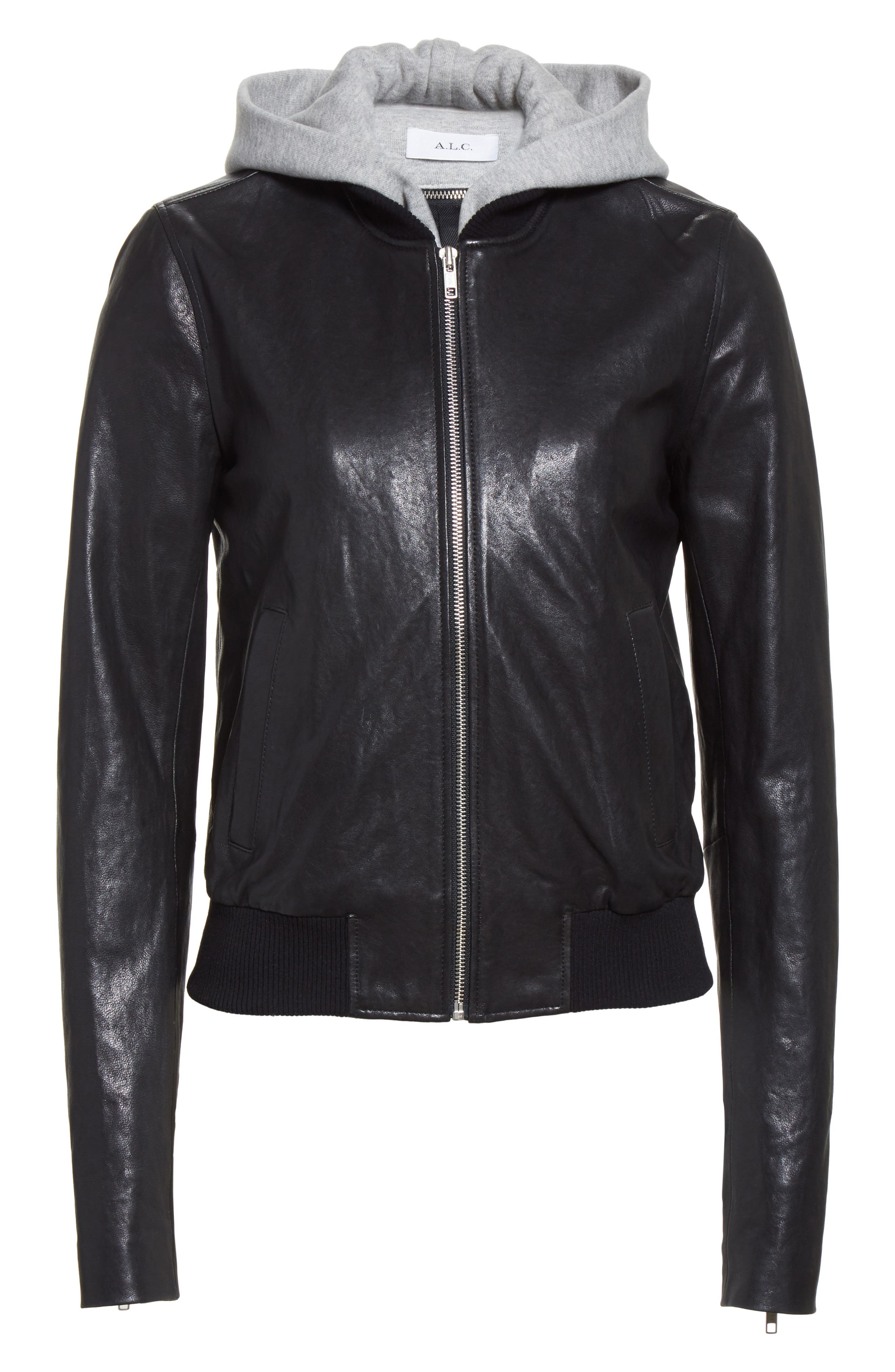 Edison Leather Jacket with Removable Hooded Inset,                             Alternate thumbnail 5, color,                             001