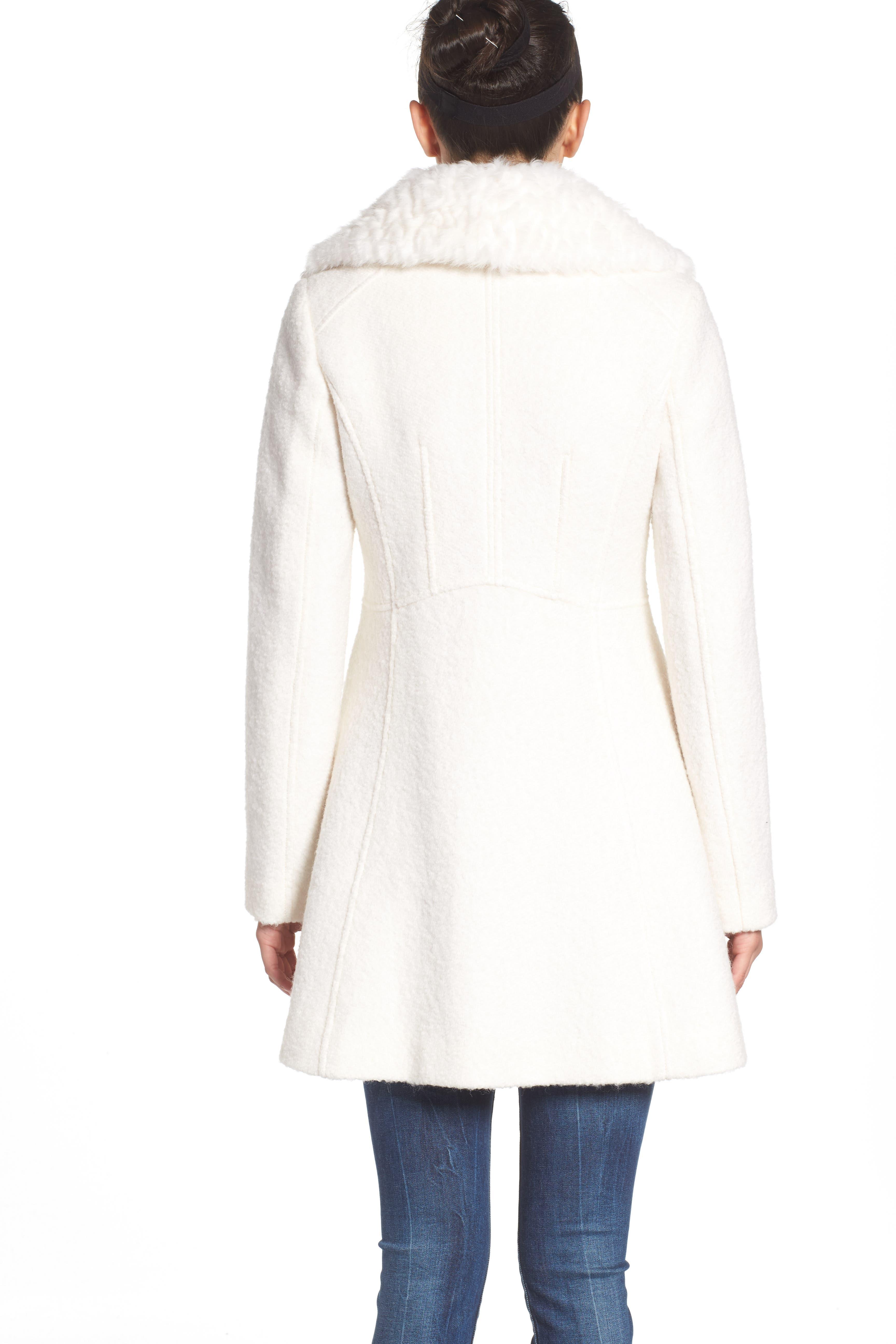 Bouclé Fit & Flare Coat with Faux Fur Collar,                             Alternate thumbnail 8, color,