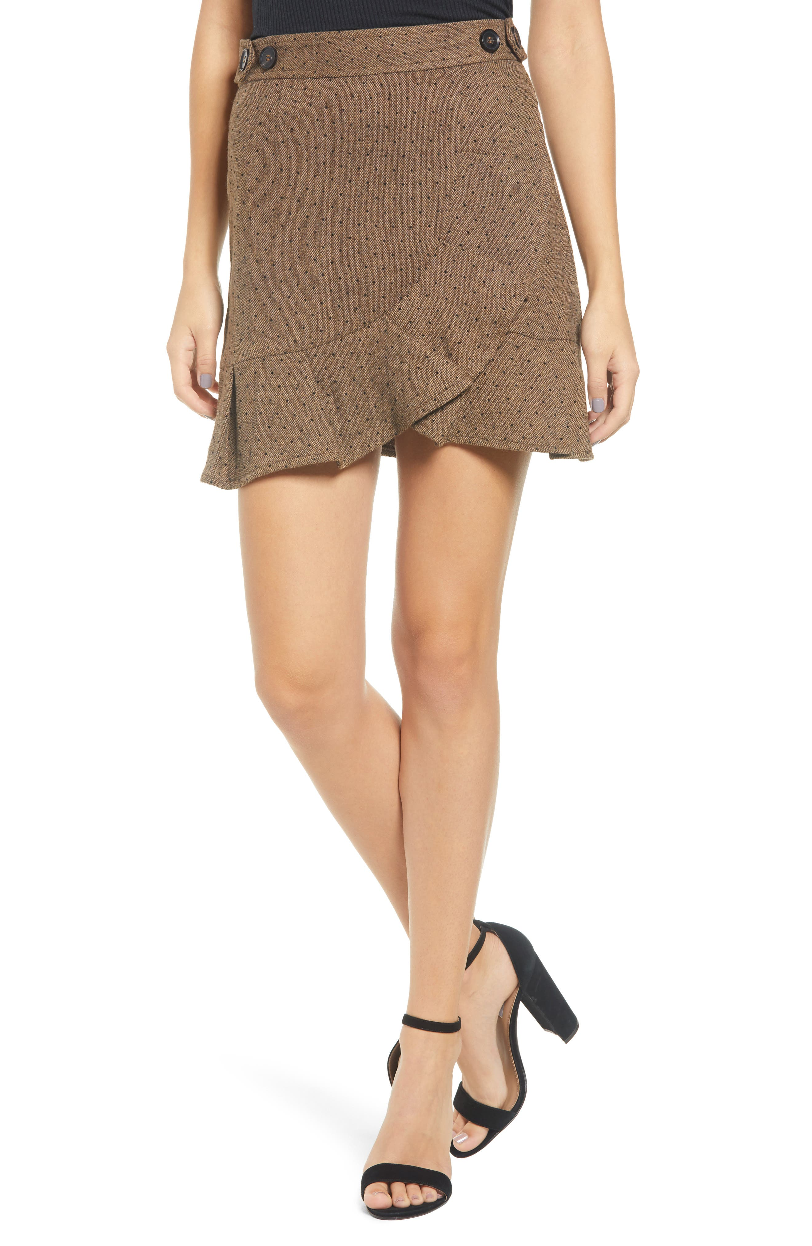 MOON RIVER Polka Dot Faux Wrap Skirt in Taupe Dot